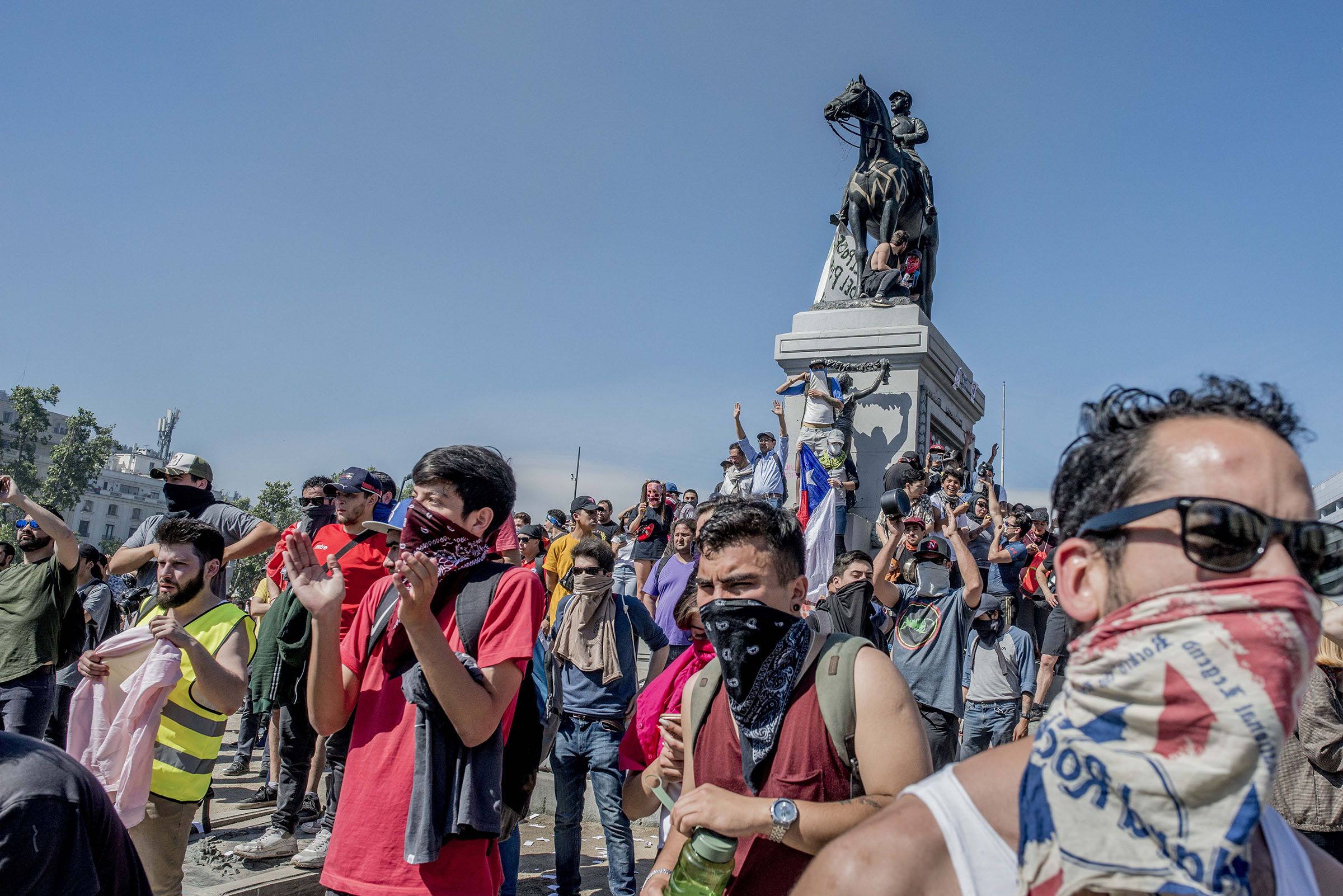 Demonstrators gather in Plaza Baquedano  during a day of protests in Santiago, Chile, on Oct. 21, 2019.