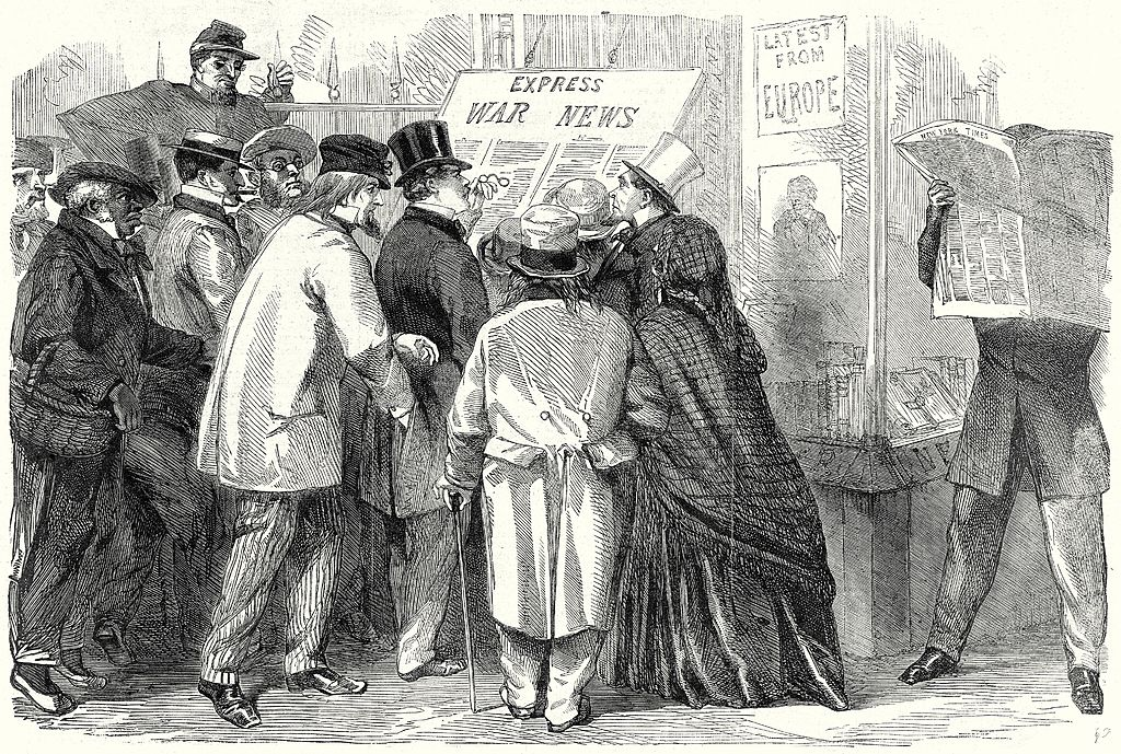 Reading the War News in Broadway, New York,  June 15, 1861