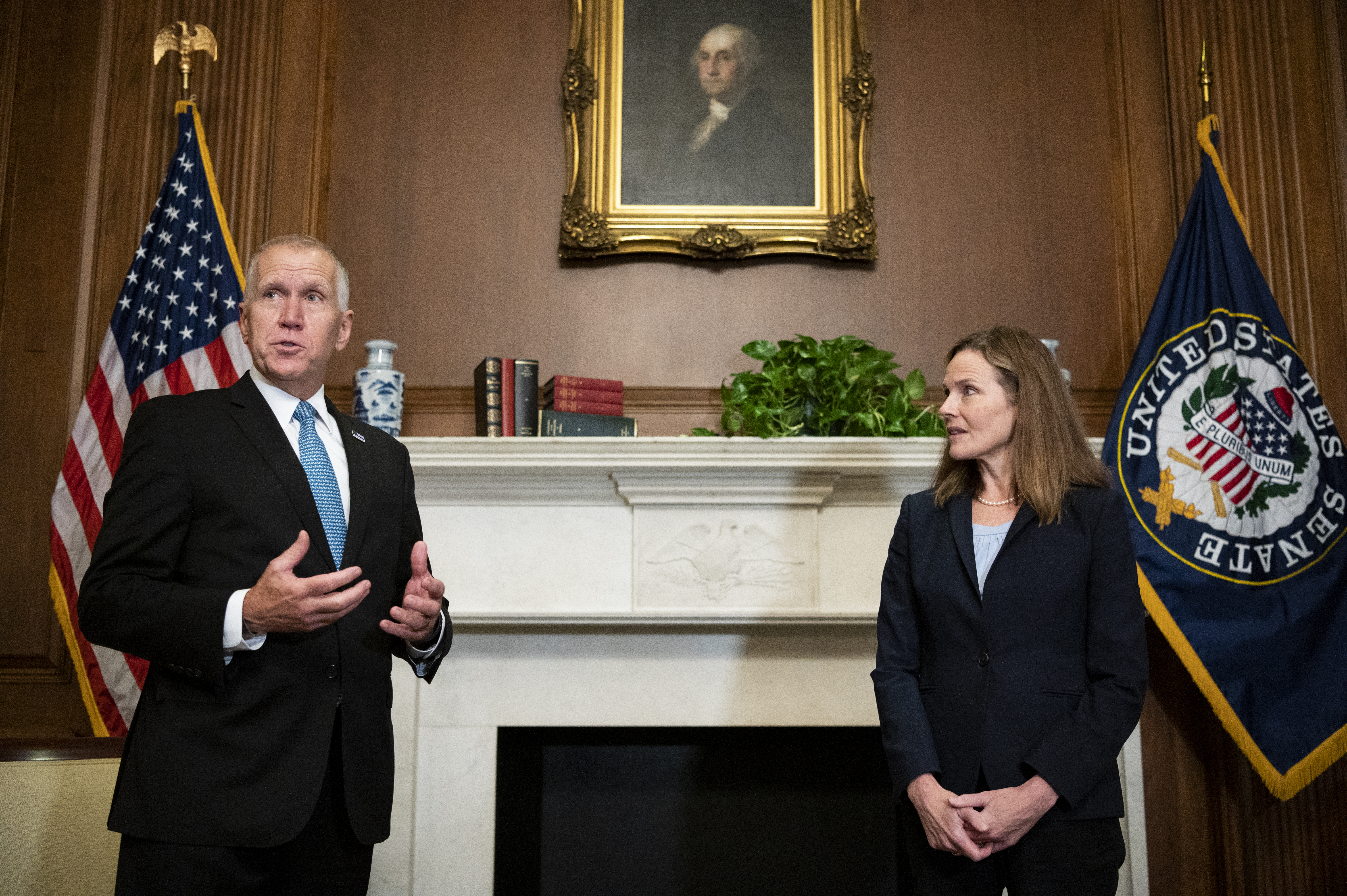 Sen. Thom Tillis, R-N.C., meets with Judge Amy Coney Barrett, President Donald Trump's nominee to the Supreme Court at the U.S. Capitol, Sept. 30, 2020, in Washington.