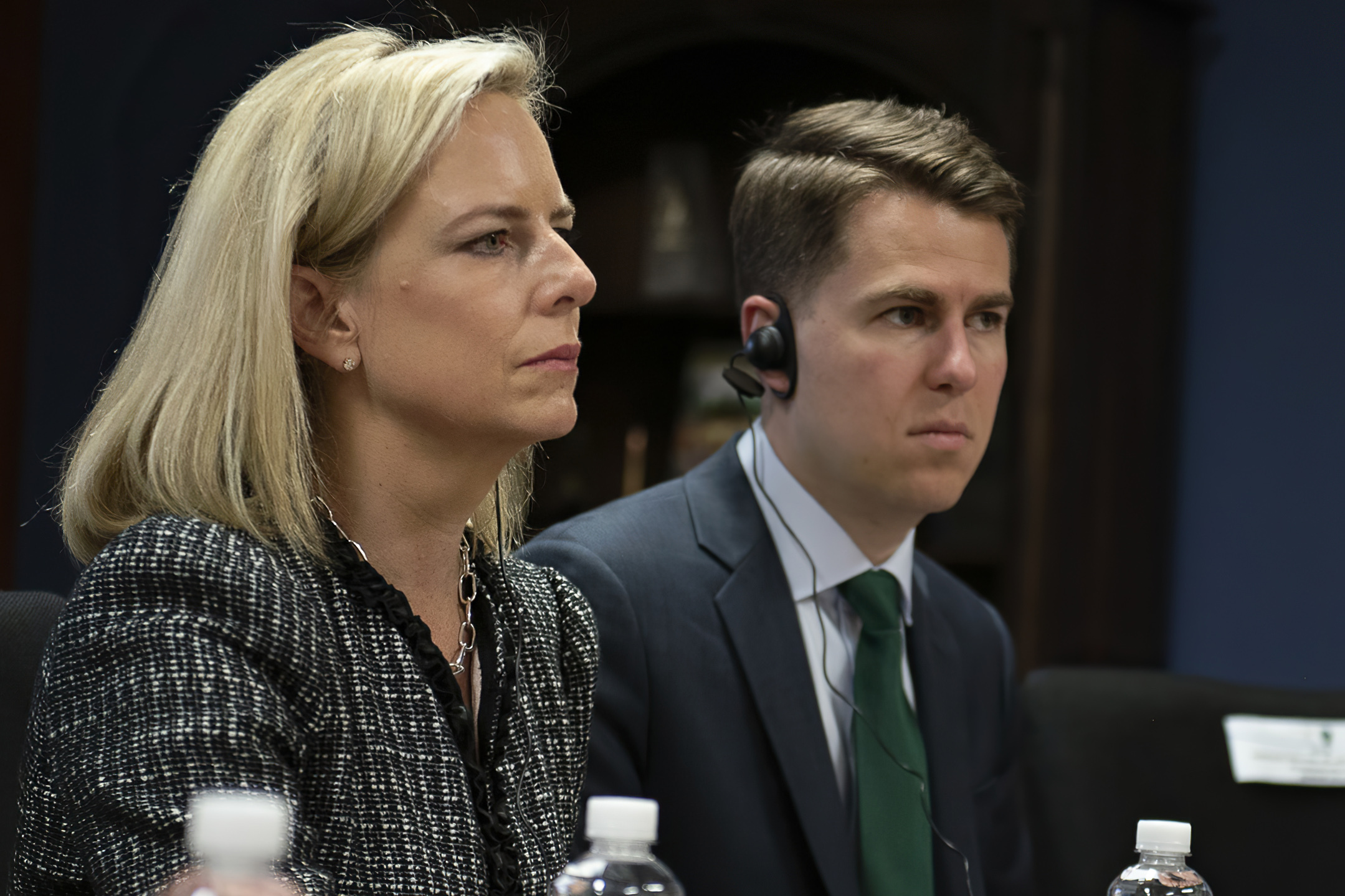 Then-Secretary of Homeland Security Kirstjen Nielsen and then-Department of Homeland Security chief of staff Miles Taylor, right, meet with Honduran President Juan Hernandez on March 27, 2018.