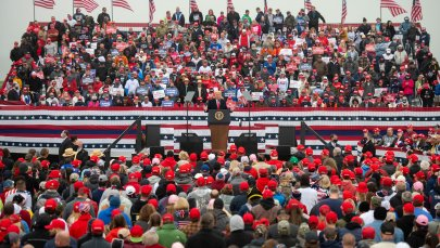 President Donald Trump holds a rally in Lititz, Penn. on Oct. 26, 2020.