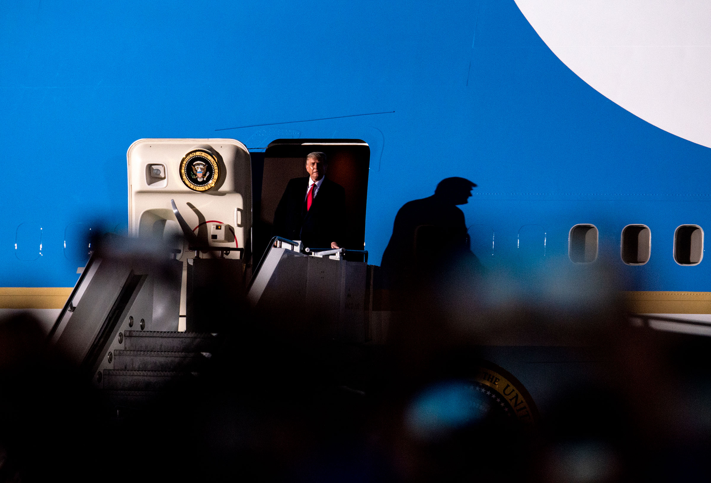President Donald Trump arrives on Air Force One for a campaign rally at the Duluth International Airport on Sept. 30, 2020 in Duluth, Minnesota.