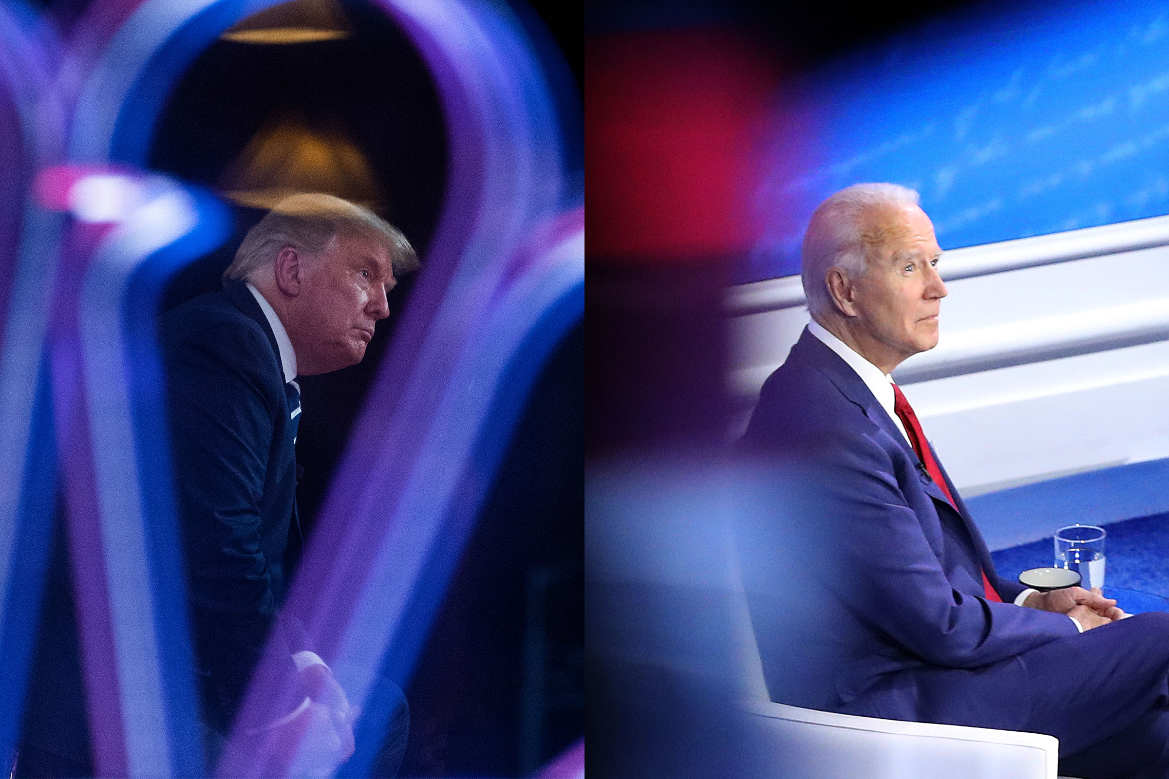 President Donald Trump speaks during an NBC News Town Hall; Democratic presidential nominee Joe Biden participates in a Town Hall format meeting with ABC News