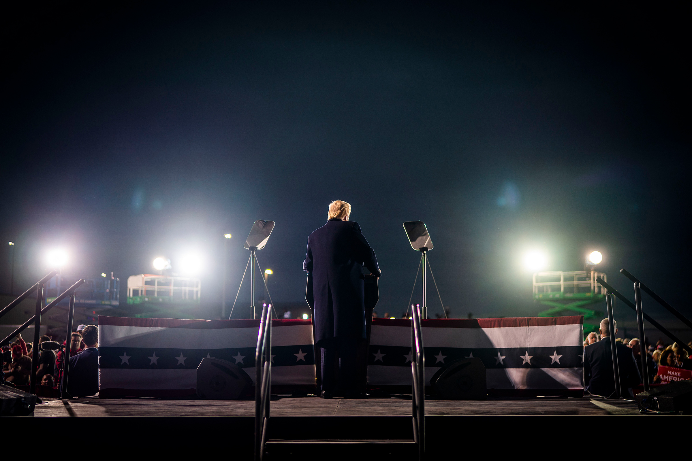 President Trump speaks during a campaign rally in Des Moines, Iowa, on Oct. 14, 2020.
