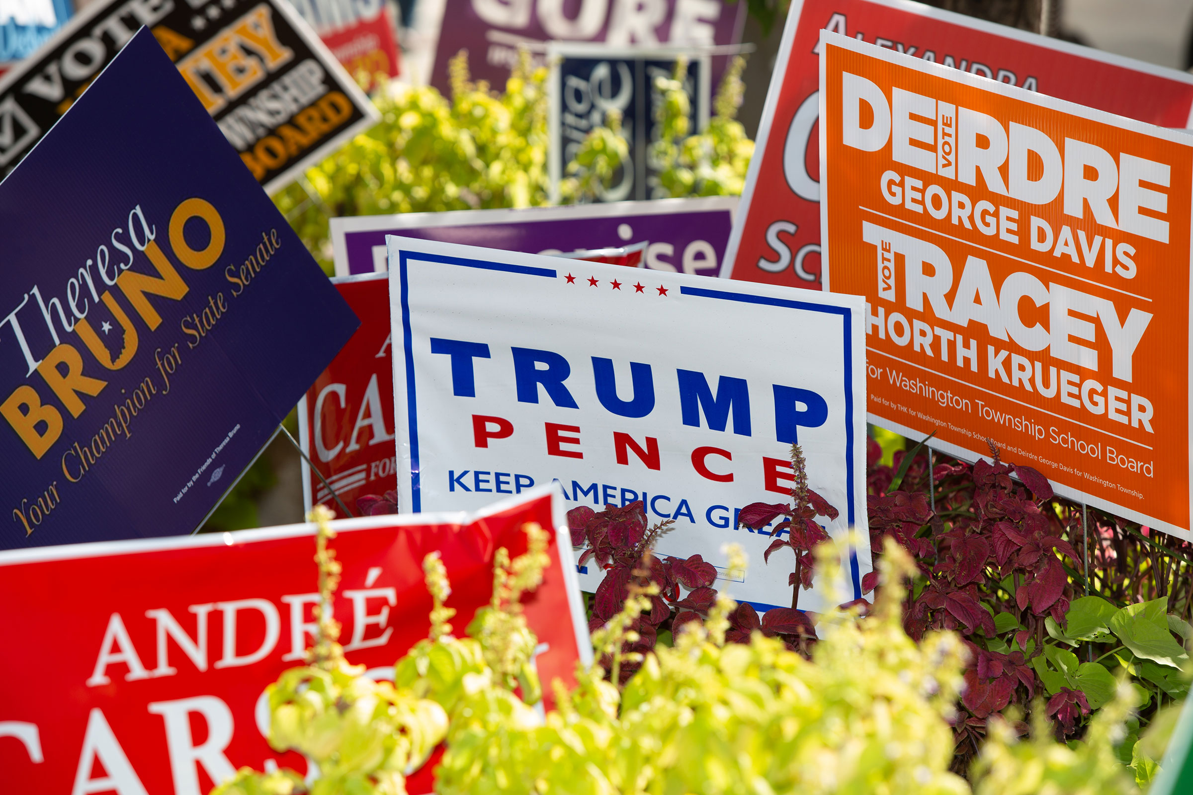 Signs for a variety of local and national races in downtown Indianapolis on Oct. 13, 2020.