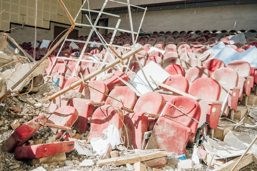 Rows of seating were destroyed in a theater in Shusha.