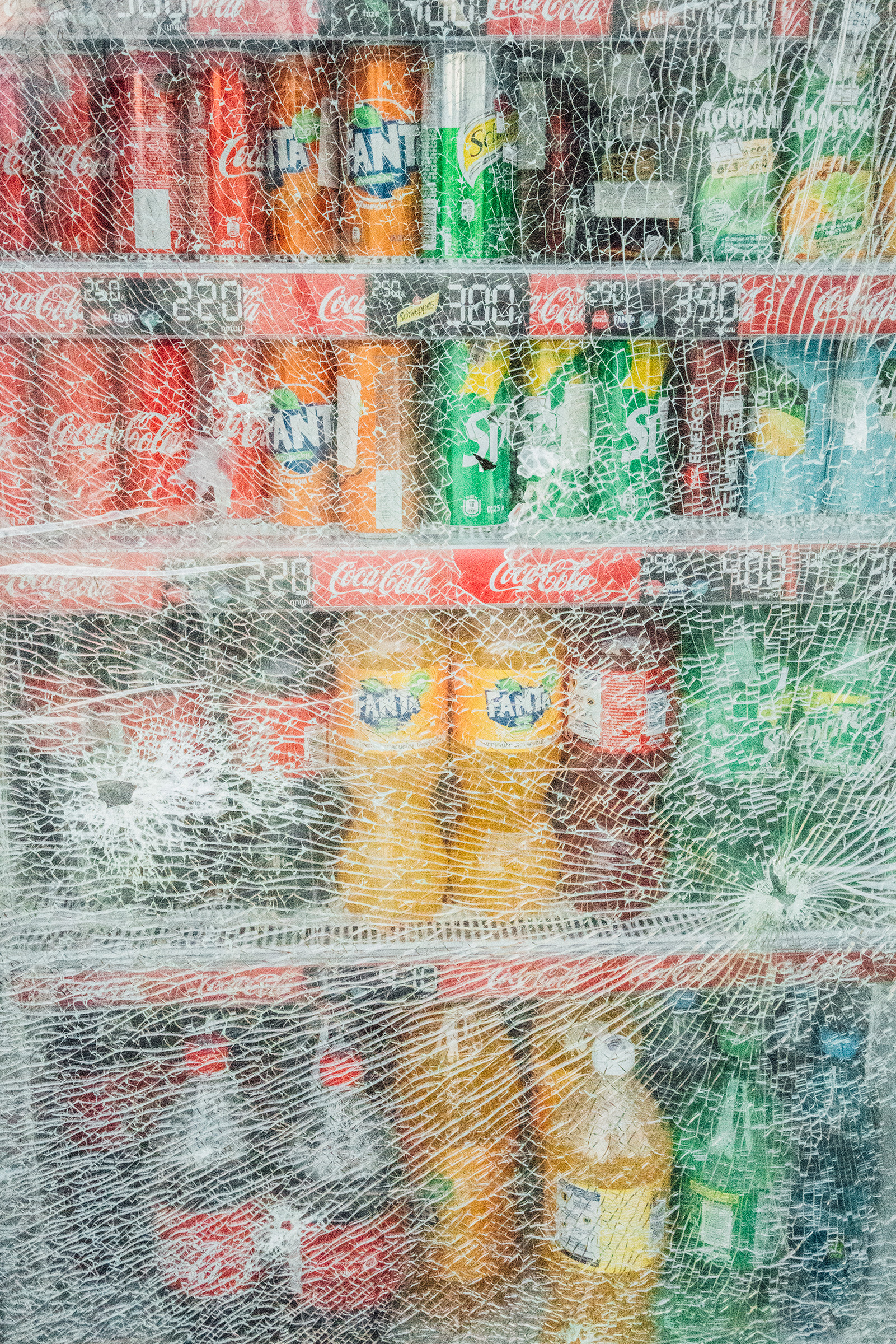The broken glass of a refrigerator in Stepanakert.