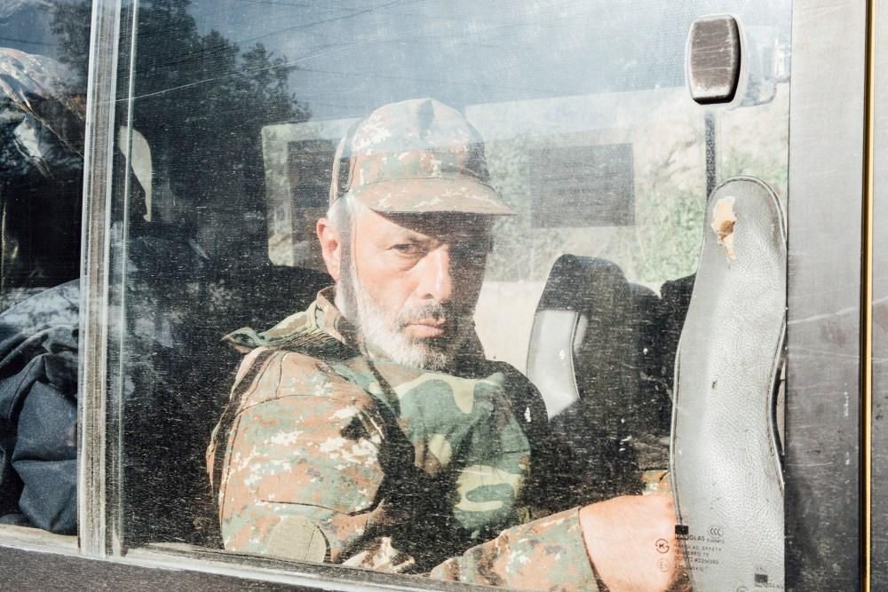 An Armenian soldier sits inside a vehicle near the town of Karmir Shuka.