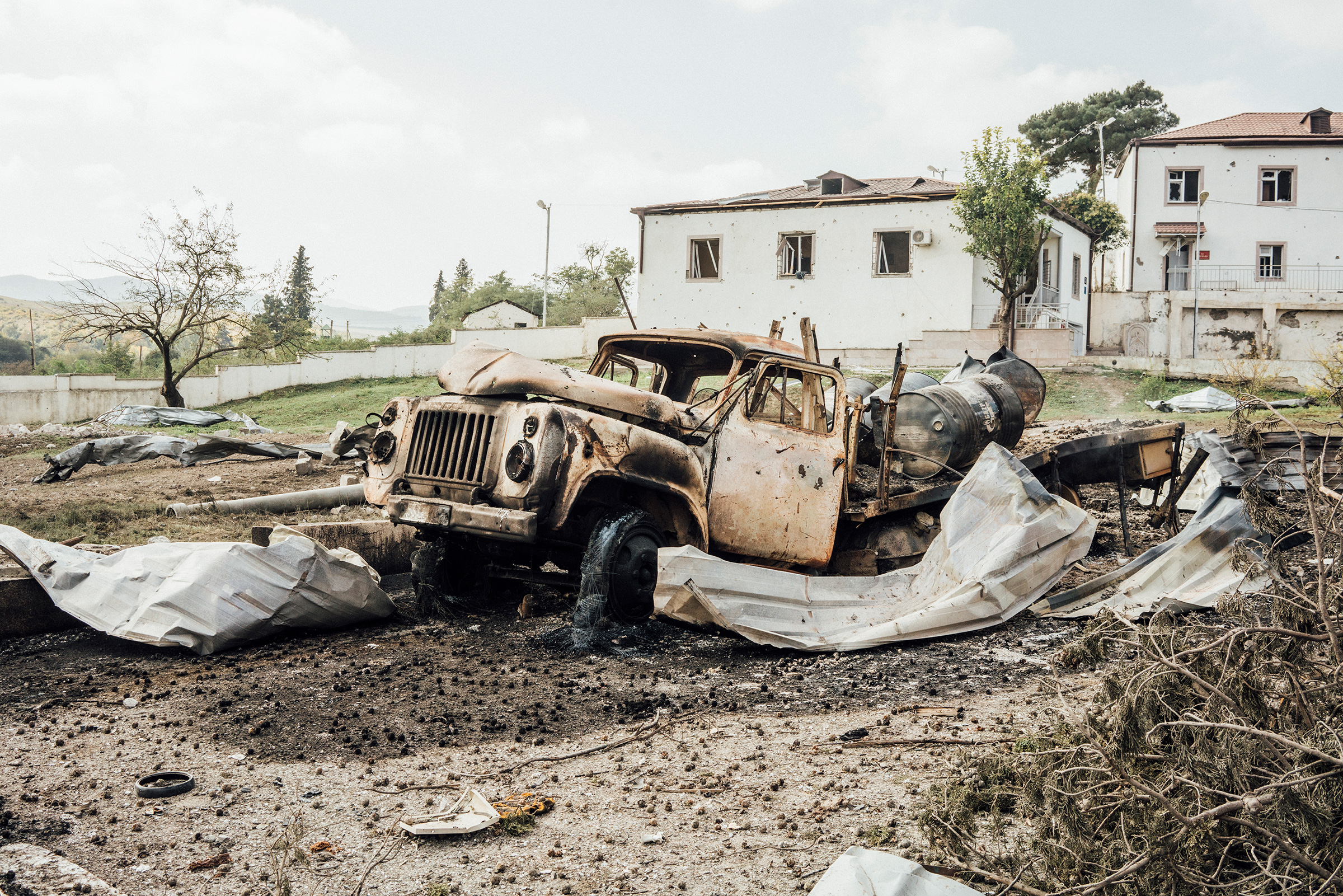 A vehicle destroyed by shelling in the town of Martakert.