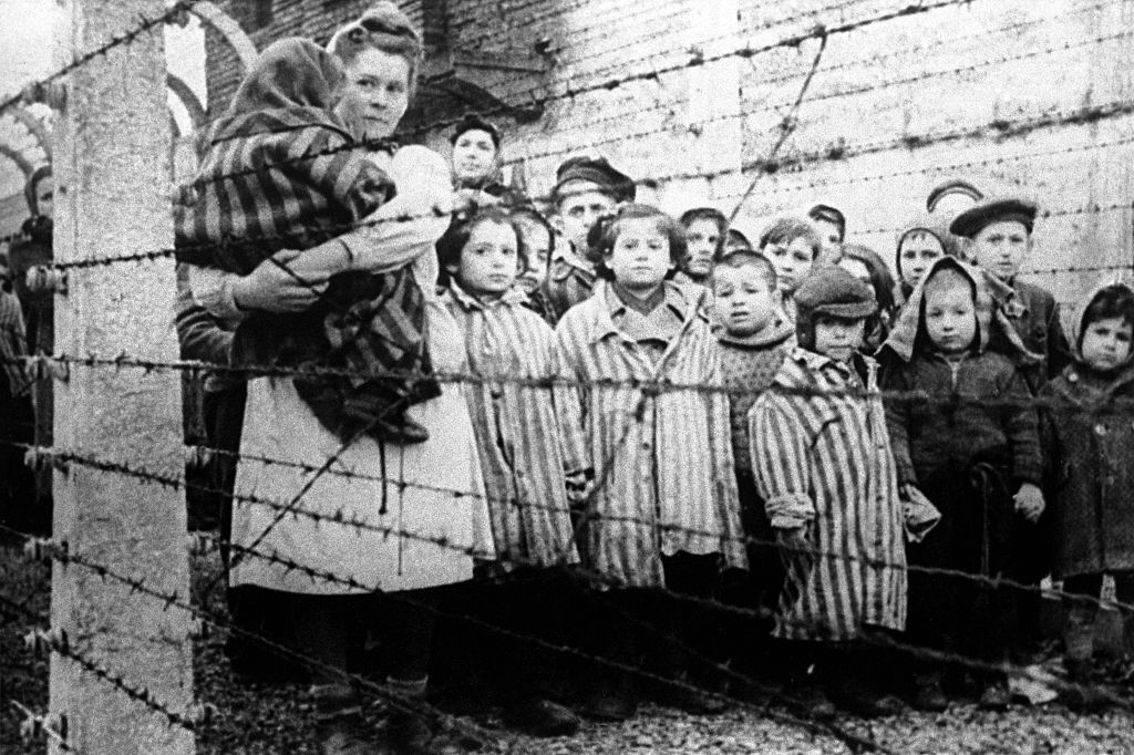 Children photographed inside the Auschwitz concentration camp on January 27, 1945.