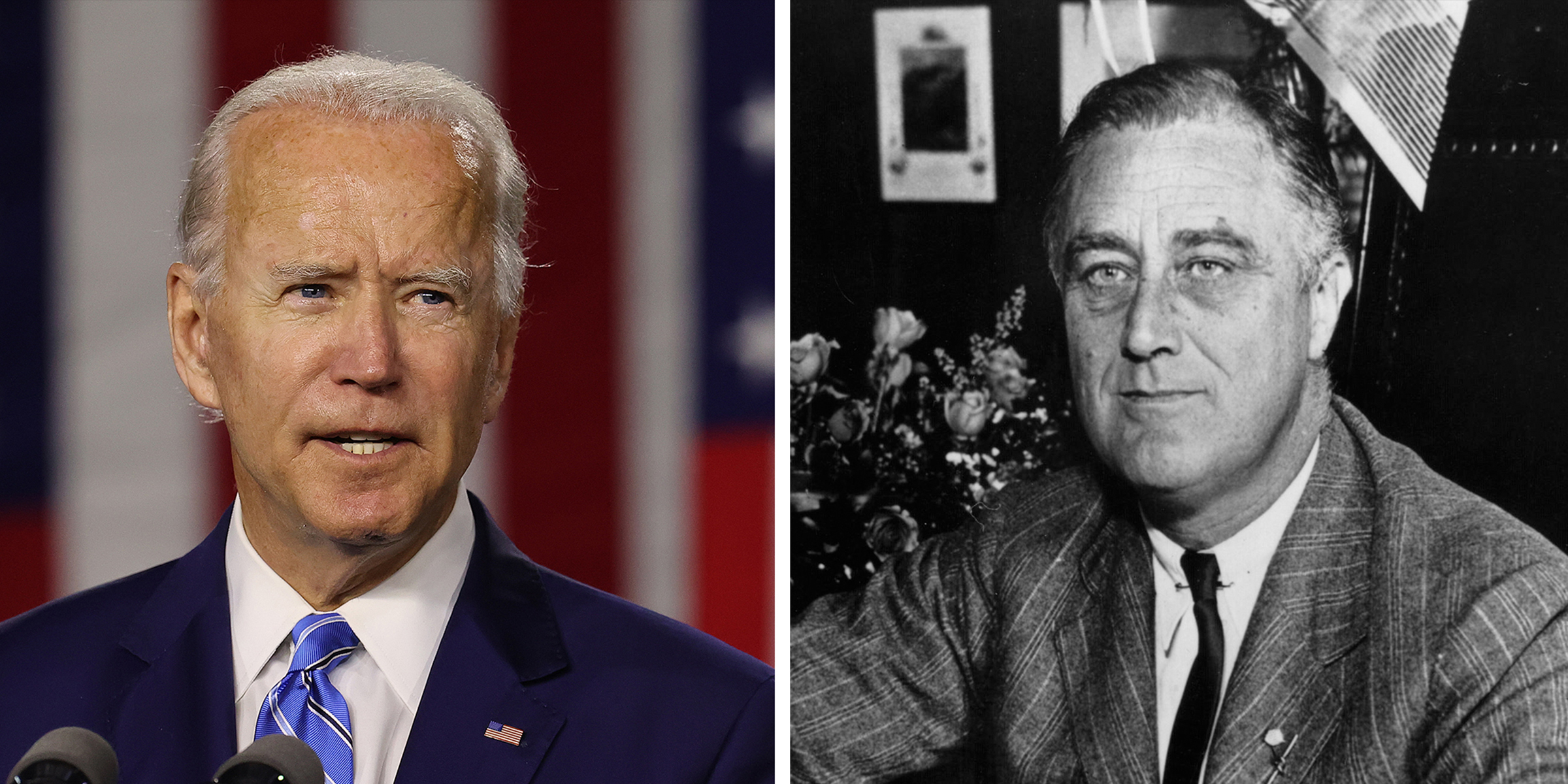 Democratic presidential candidate former Vice President Joe Biden, and 32nd President of the United States Franklin Delano Roosevelt.