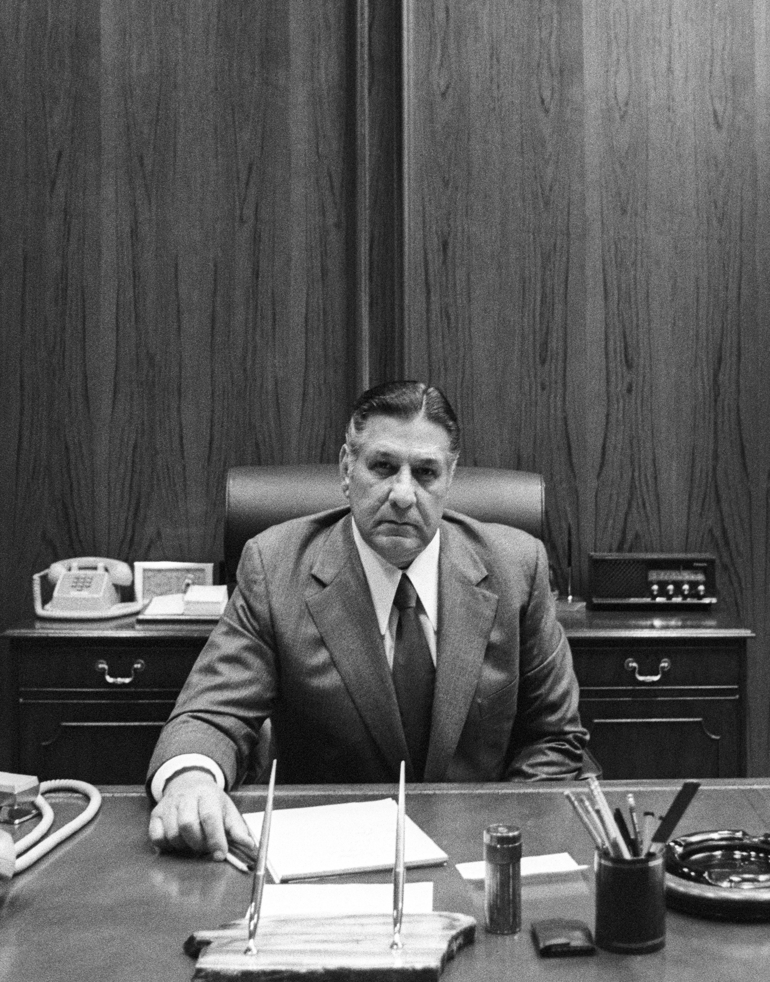 Mayor Frank Rizzo poses for a portrait on Jan. 3, 1977 in Philadelphia, Pennsylvania.