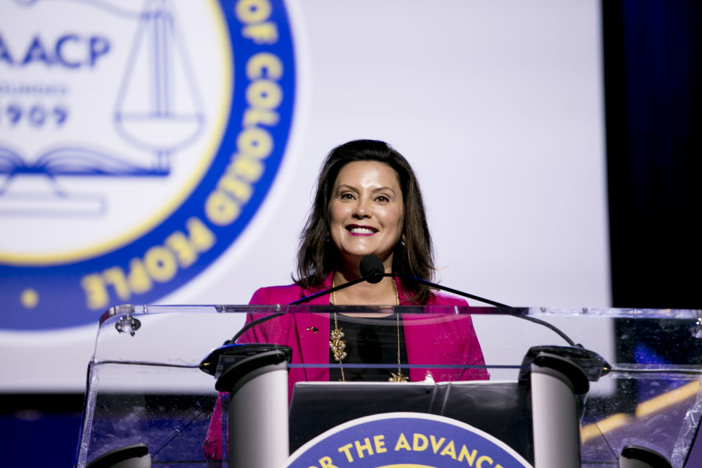 Gretchen Whitmer, governor of Michigan, smile while speaking during the 110th NAACP Annual Convention in Detroit, Michigan, U.S., on July 22, 2019.