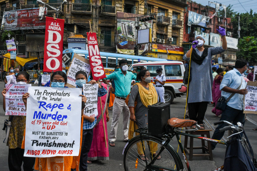 A protest in Kolkata against the alleged rape, torture and murder of a 19-year-old Dalit woman in Hathras district of Uttar Pradesh, India.