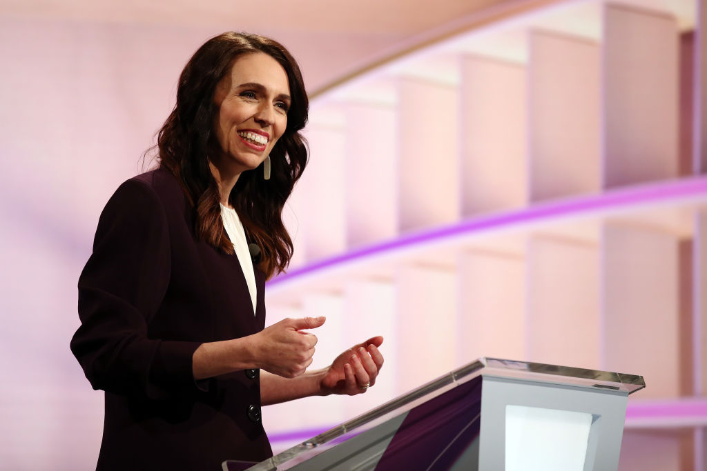 Prime Minister Jacinda Ardern speaks during the live leaders debate at TVNZ in Auckland, New Zealand on September 22, 2020.
