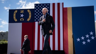 Democratic presidential nominee Joe Biden arrives to speak at a drive-in campaign rally at Riverside High School on Oct. 18, 2020 in Durham, North Carolina.