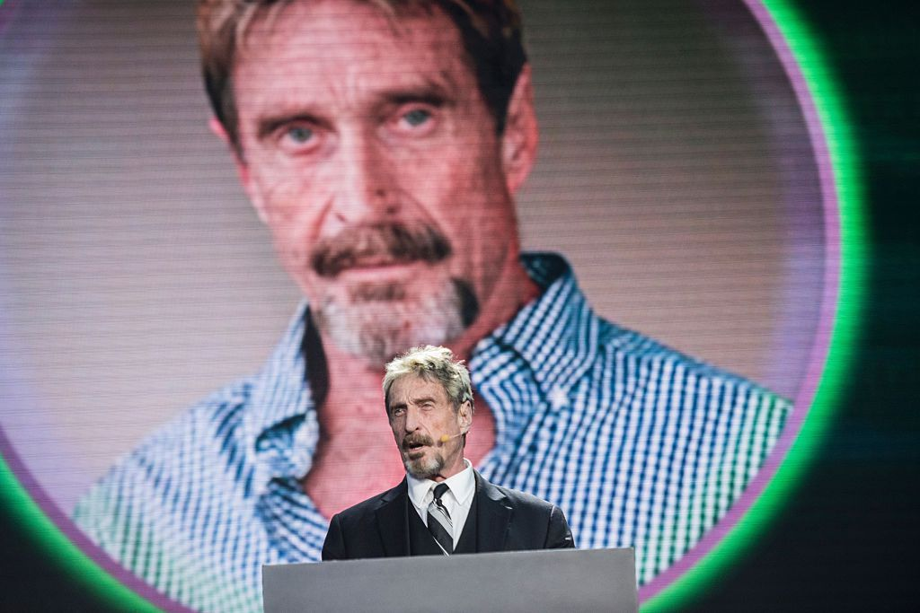 John McAfee, founder of the eponymous anti-virus company, speaks during the China Internet Security Conference in Beijing on August 16, 2016.