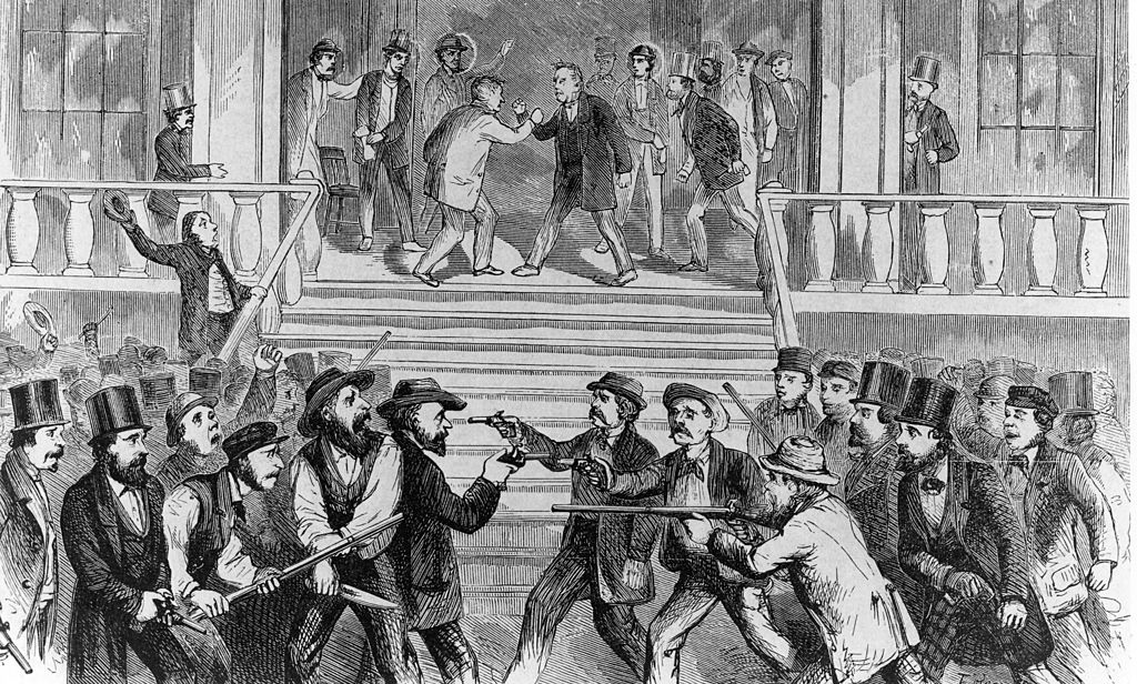 Illustration depicting fighting between pro- and anti-slavery campaigners at a political convention held at Fort Scott in Kansas, circa 1856