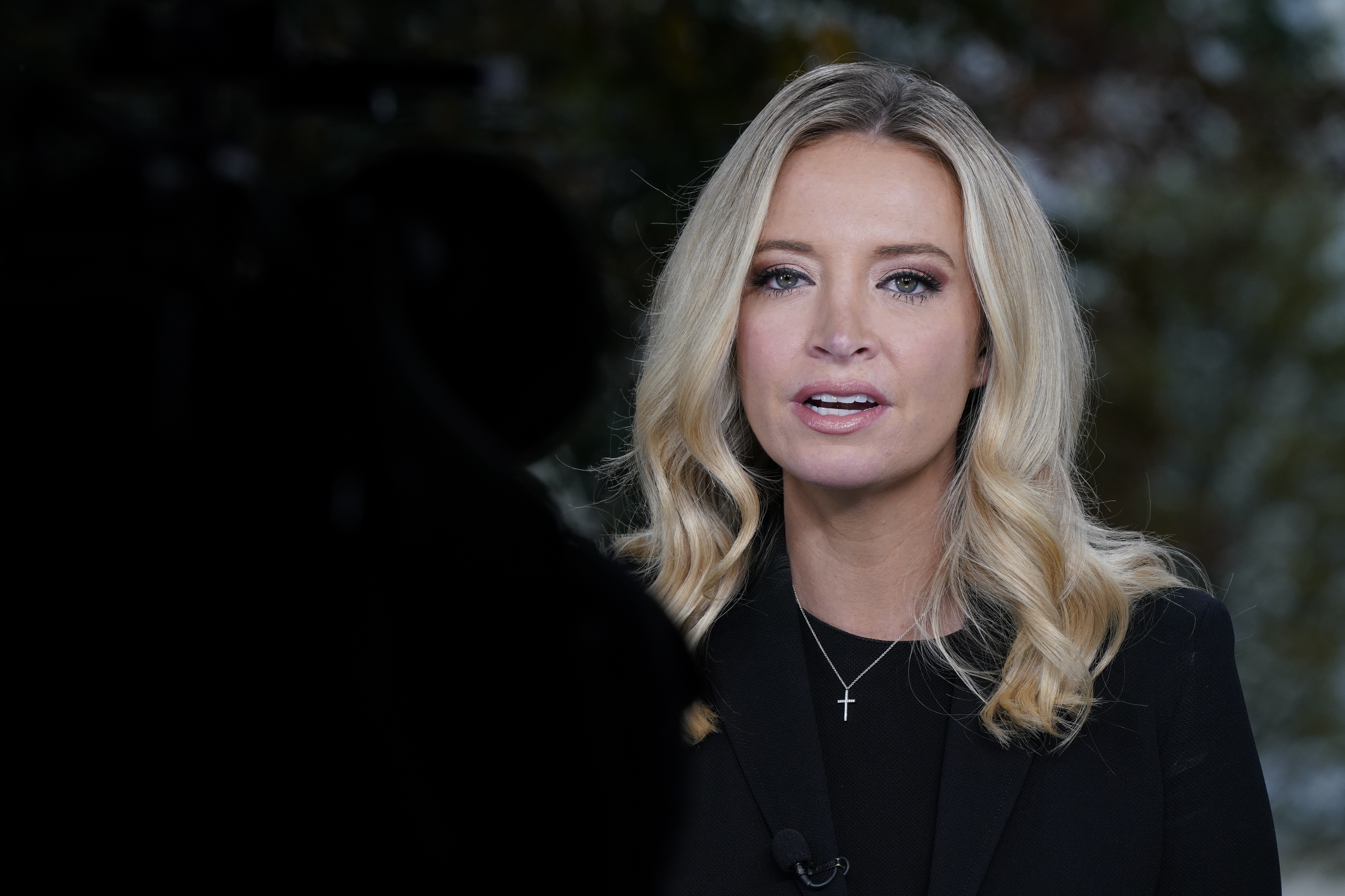 White House press secretary Kayleigh McEnany, is interviewed by Fox News, Oct. 4, 2020, at the White House in Washington.