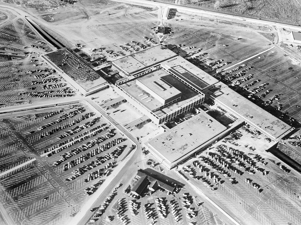 Hundreds of automobiles viewed from aloft at Detroit's Northland Center, in 1954.