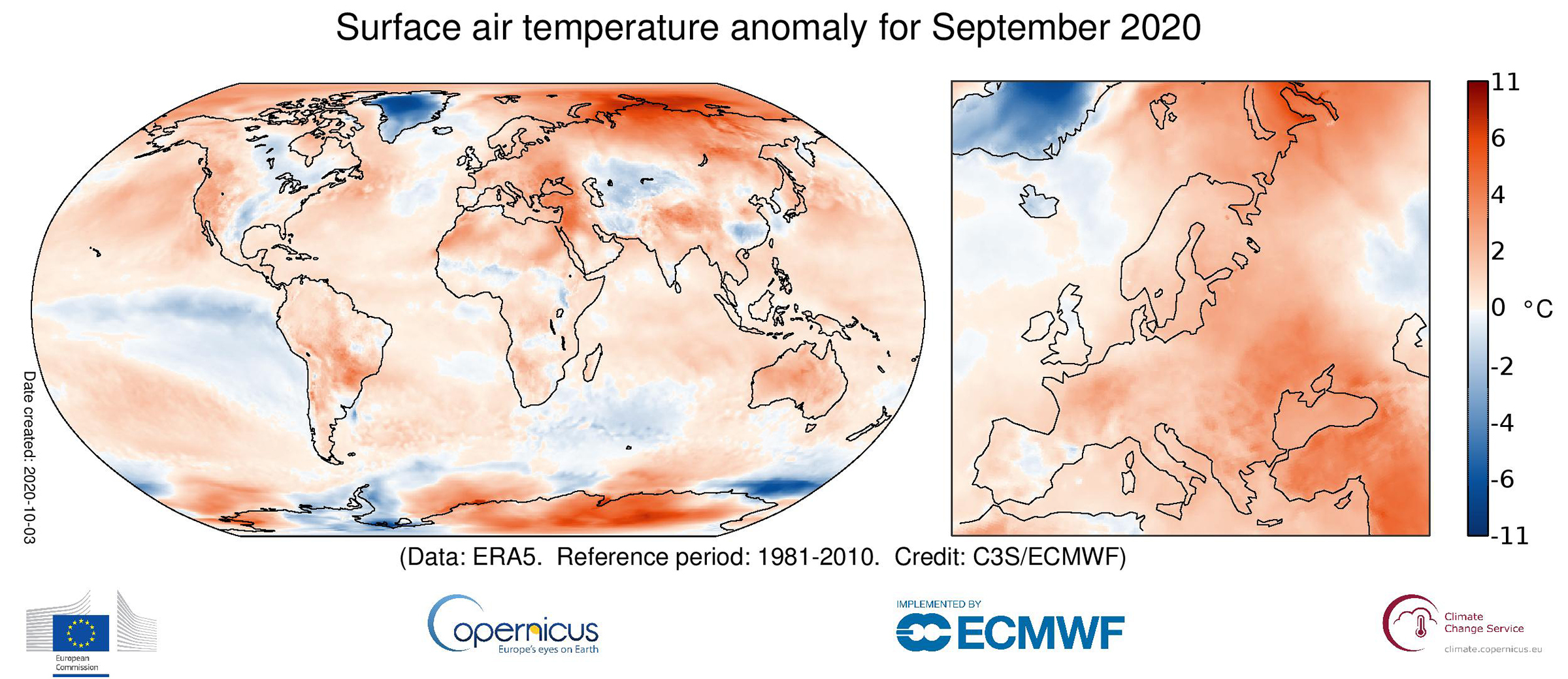 Surface air temperature anomaly for September 2020 relative to the September average for the period 1981-2010. Data source: ERA5.