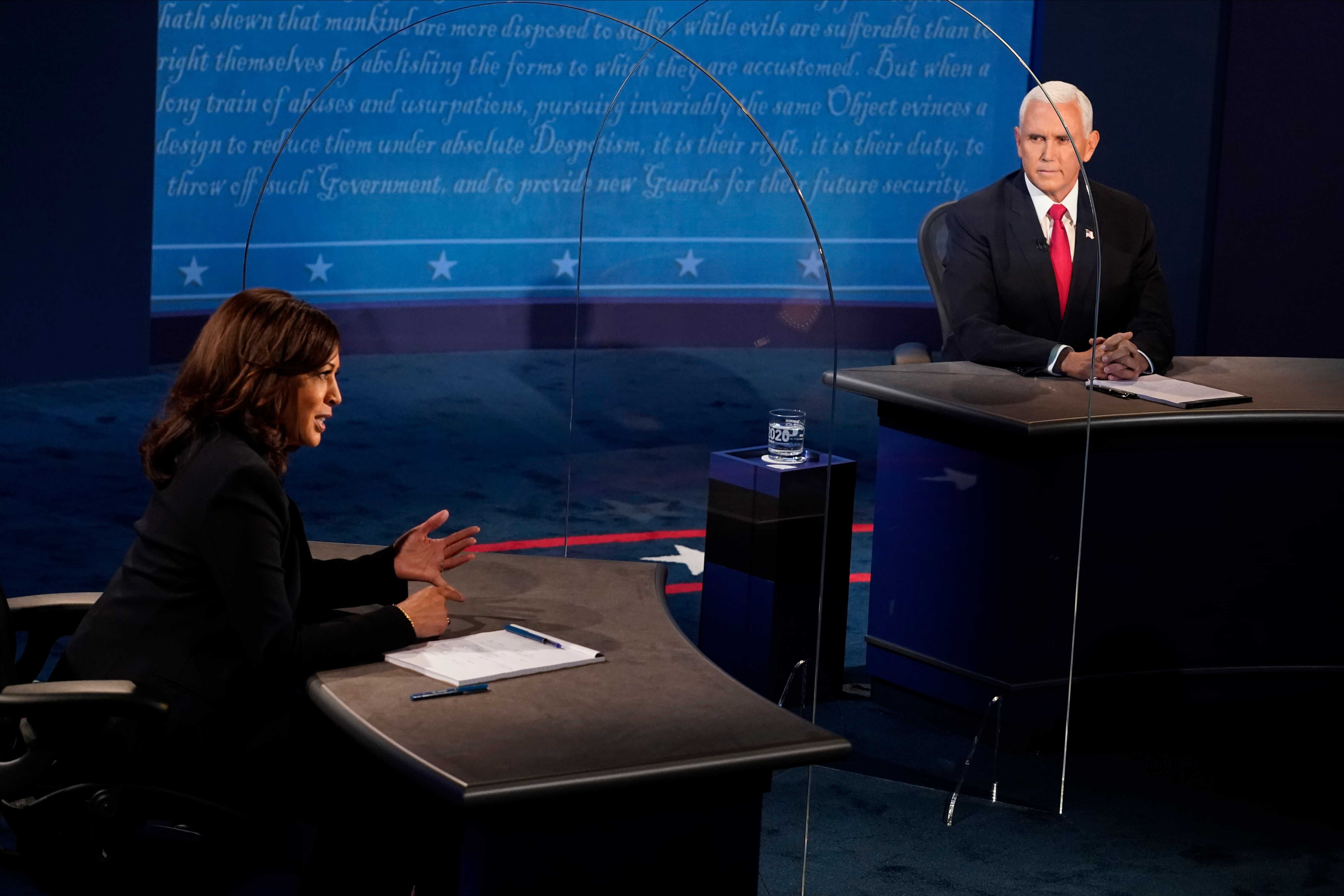 Democratic vice presidential nominee Sen. Kamala Harris (D-CA) and U.S. Vice President Mike Pence participate in the vice presidential debate on Oct. 7, 2020 in Salt Lake City.