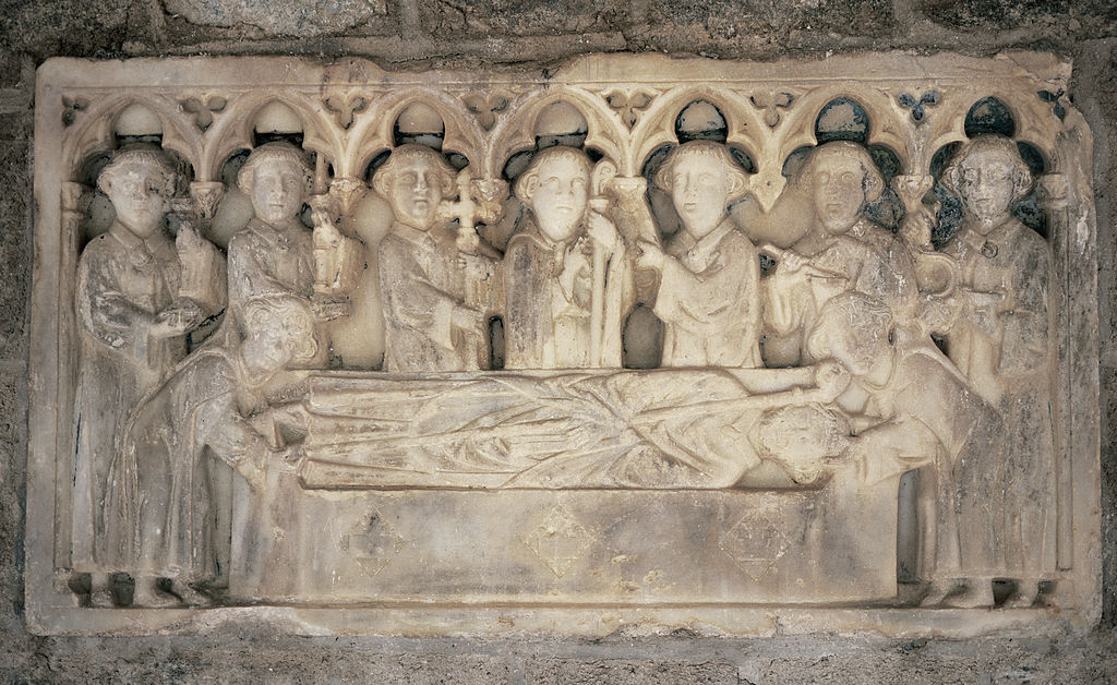 Fourteenth century tombstone relief at a monastery built in 1009 in the Pyrenees