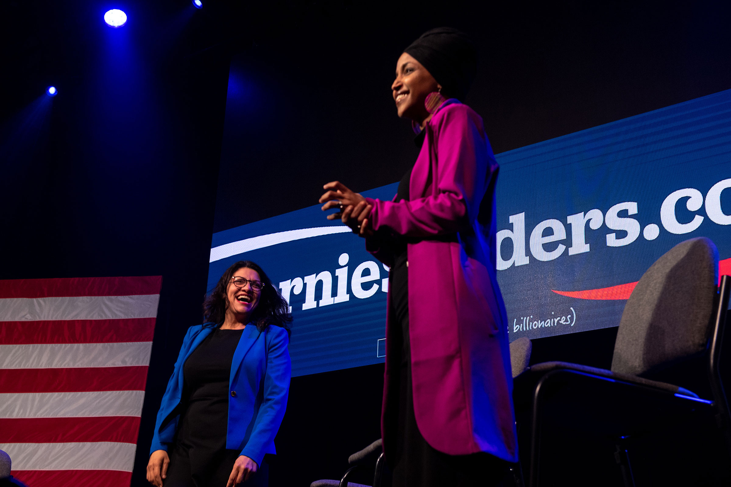 Reps. Rashida Tlaib and Ilhan Omar hold a campaign rally for Sen. Bernie Sanders in Clive, Iowa, Jan. 31, 2020.