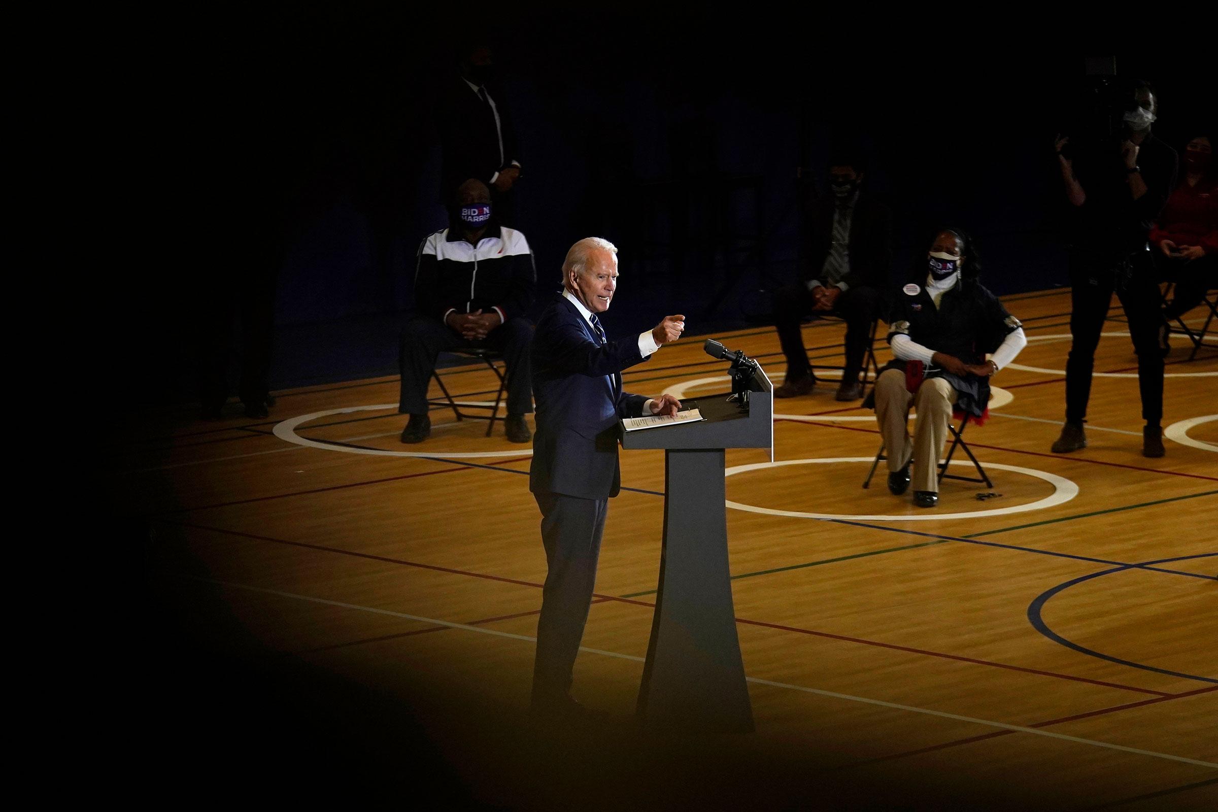 Joe Biden speaks at Beech Woods Recreation Center, in Southfield, Mich., on Oct. 16, 2020.