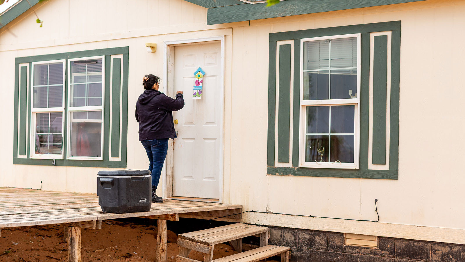 Tara Benally, a field director for Rural Arizona Project, conducts door-knocking efforts on the Navajo Nation as a part of a voter registration program in 2019.