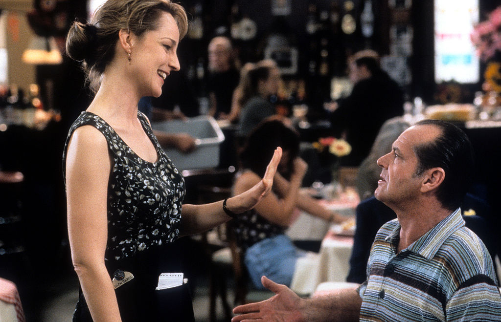 Helen Hunt as Jack Nicholson's waitress at a restaurant in a scene from the film 'As Good as It Gets', 1997.