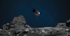 A rendering of NASA's OSIRIS-REx readying itself to touch the surface of asteroid Bennu.