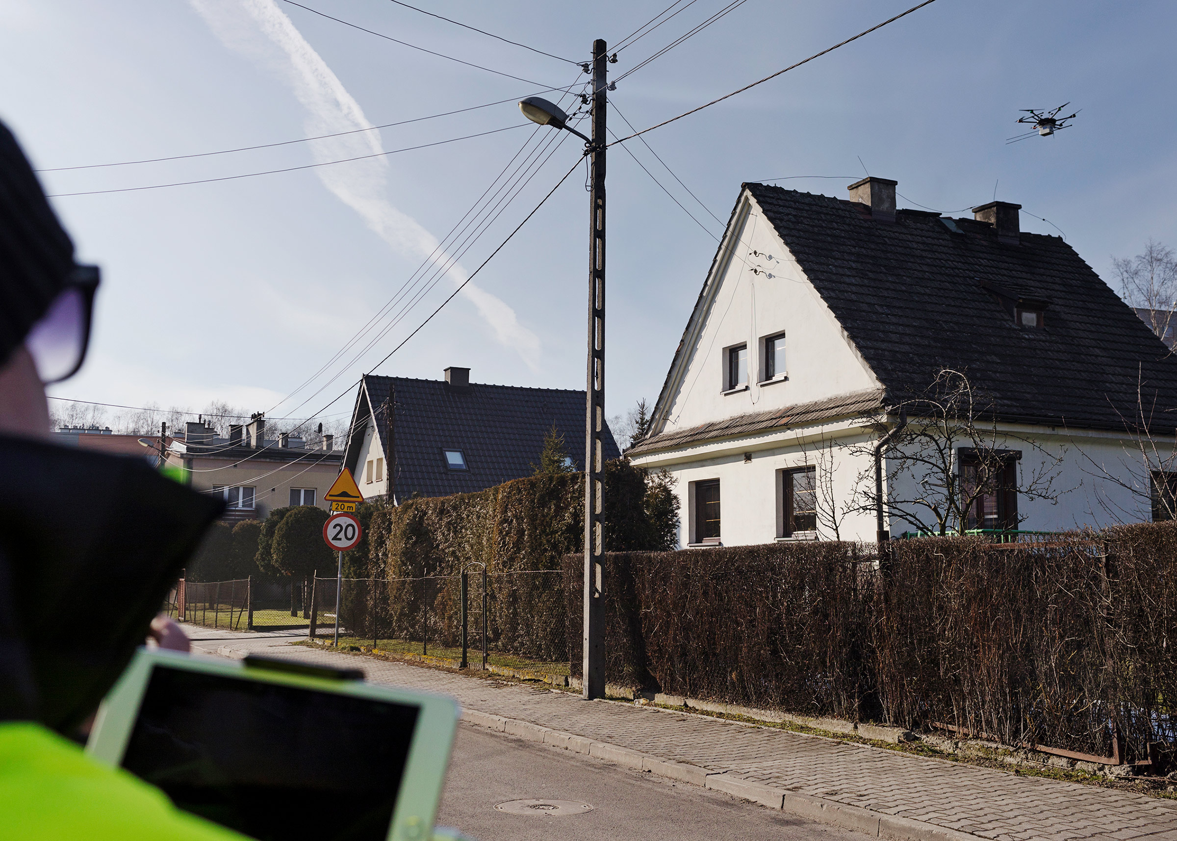 Police in Katowice, one of the most polluted cities in Europe, use drone technology to test smoke coming out of chimneys in 2018.
