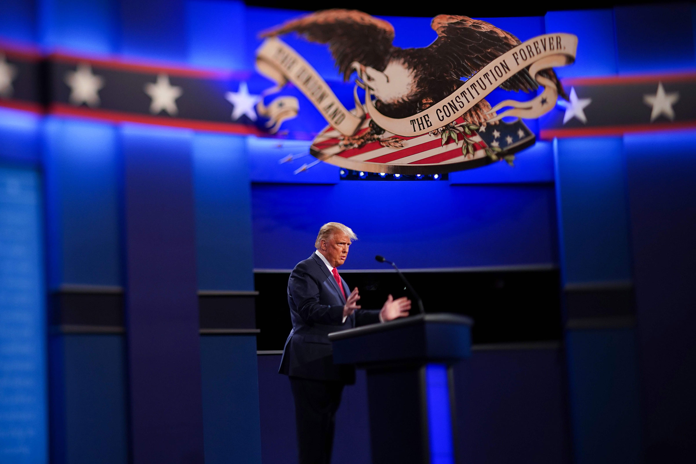 President Donald Trump speaks during the final presidential debate in Nashville, Tenn. on Oct. 22, 2020.