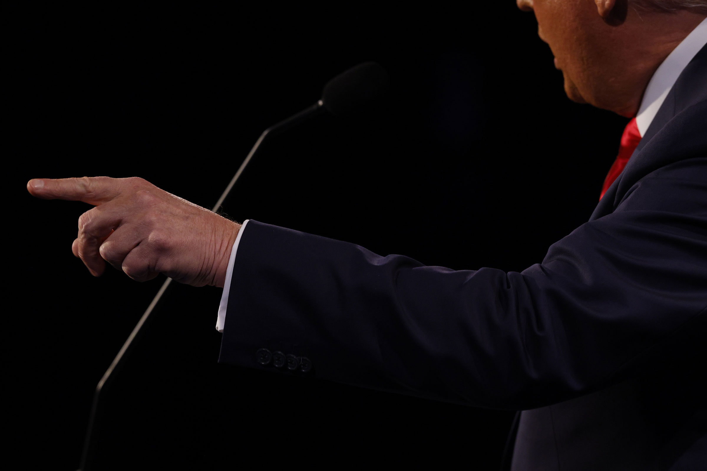 President Donald Trump speaks during the final presidential debate.