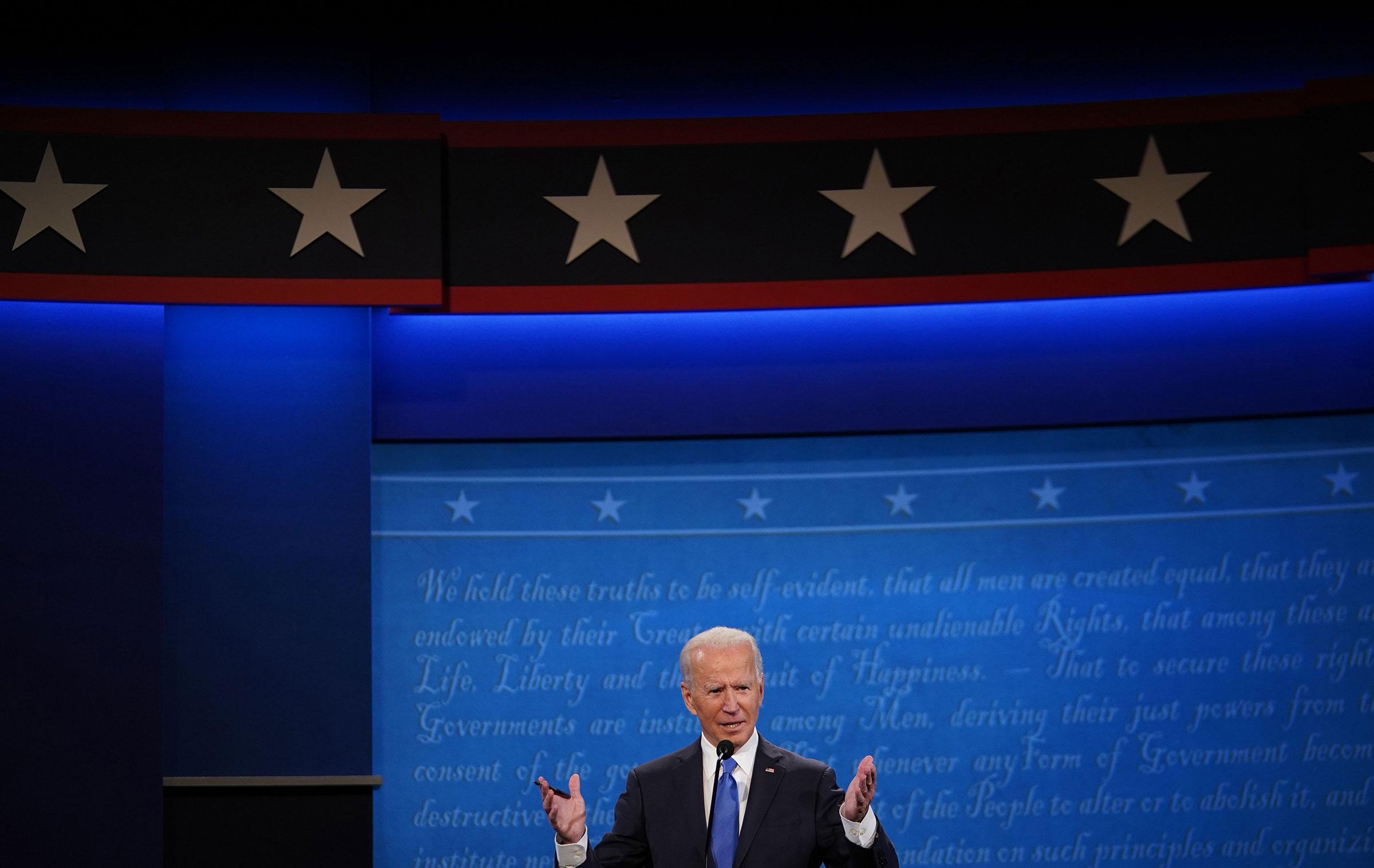 Former Vice President Joe Biden speaks during the final presidential debate at Belmont University in Nashville, Tenn., on Oct. 22, 2020.