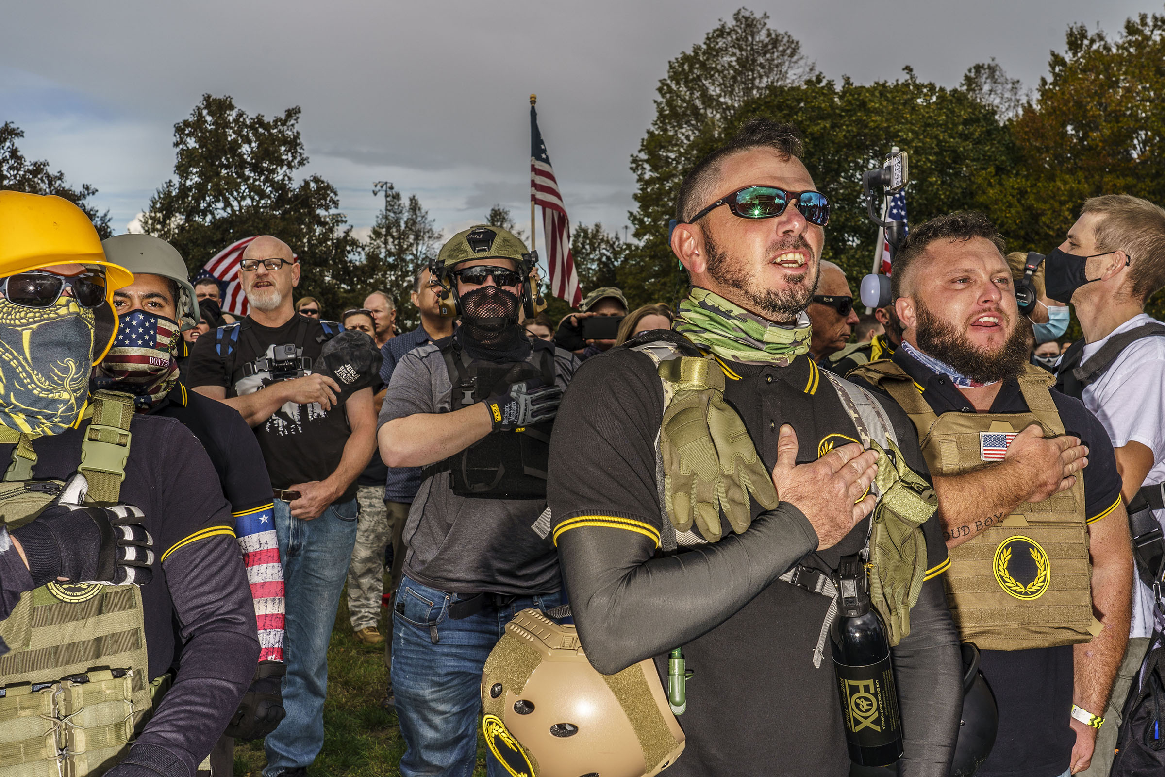 Hundreds of far-right Proud Boys and their supporters held a rally in Delta Park in Portland, Ore., on Sept. 26, 2020.