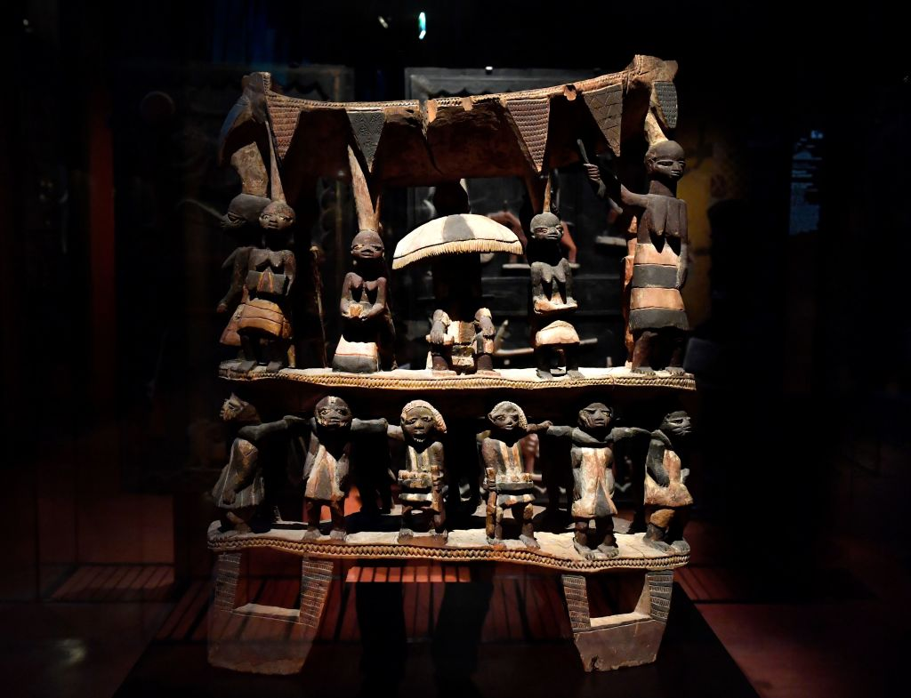 Royal Seat of the Kingdom of Dahomey from the early 19th century, at the Quai Branly museum in Paris, on June 18, 2018.
