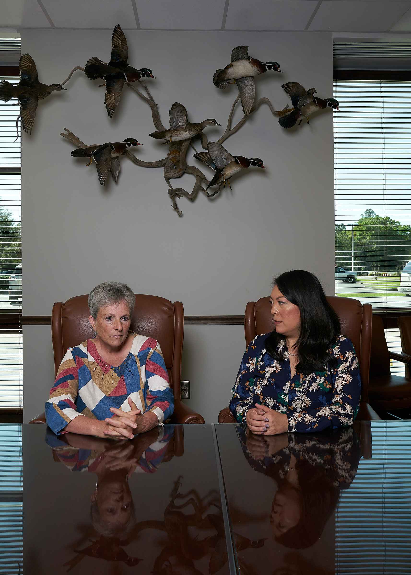 Miller County Hospital CEO Robin Rau, left, and Clinch Memorial Hospital CEO Angela Ammons in Homerville, Ga., on March 19, 2020.