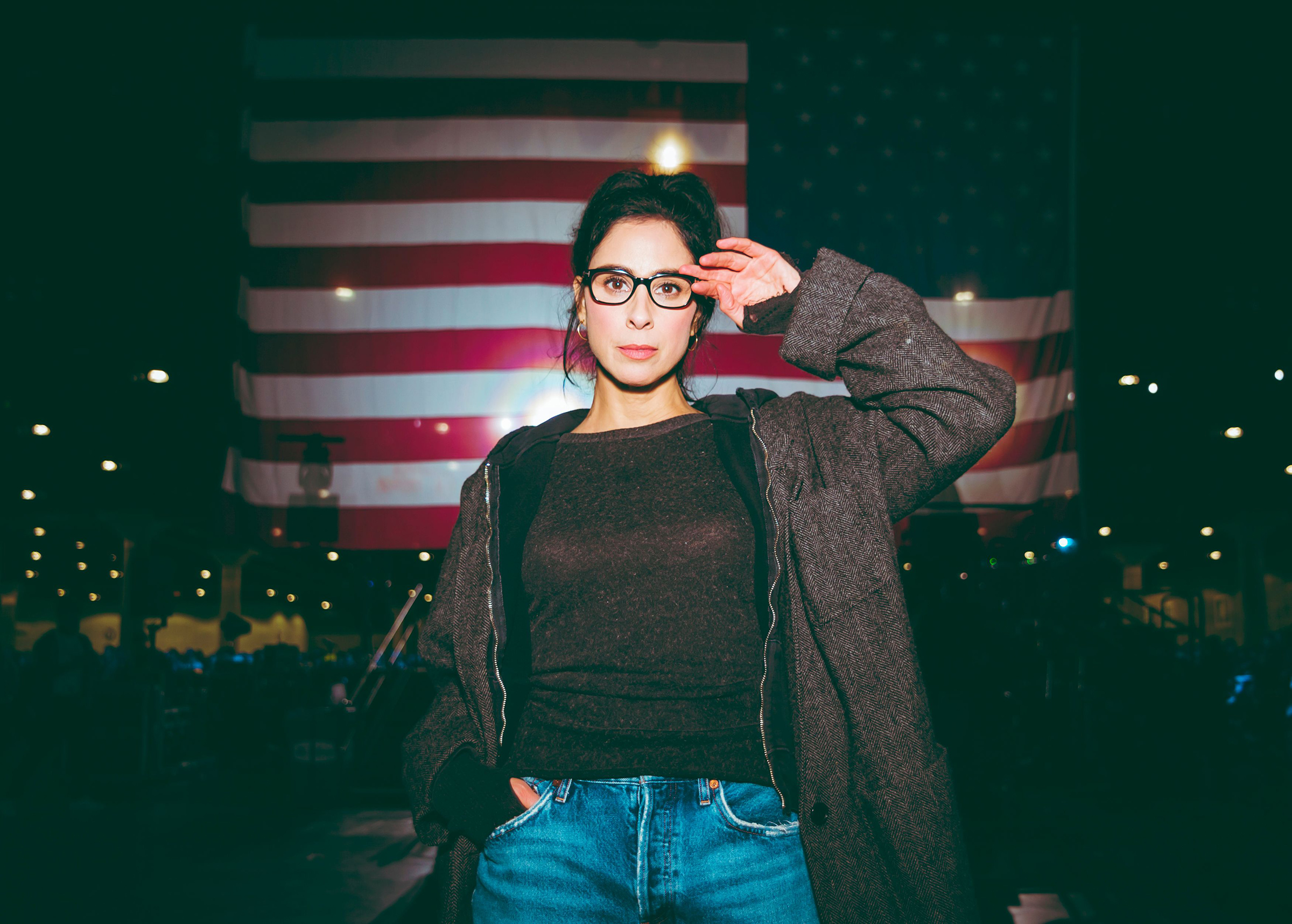 Sarah Silverman poses for a photo backstage at a Bernie Sanders Rally at Los Angeles Convention Center on March 1