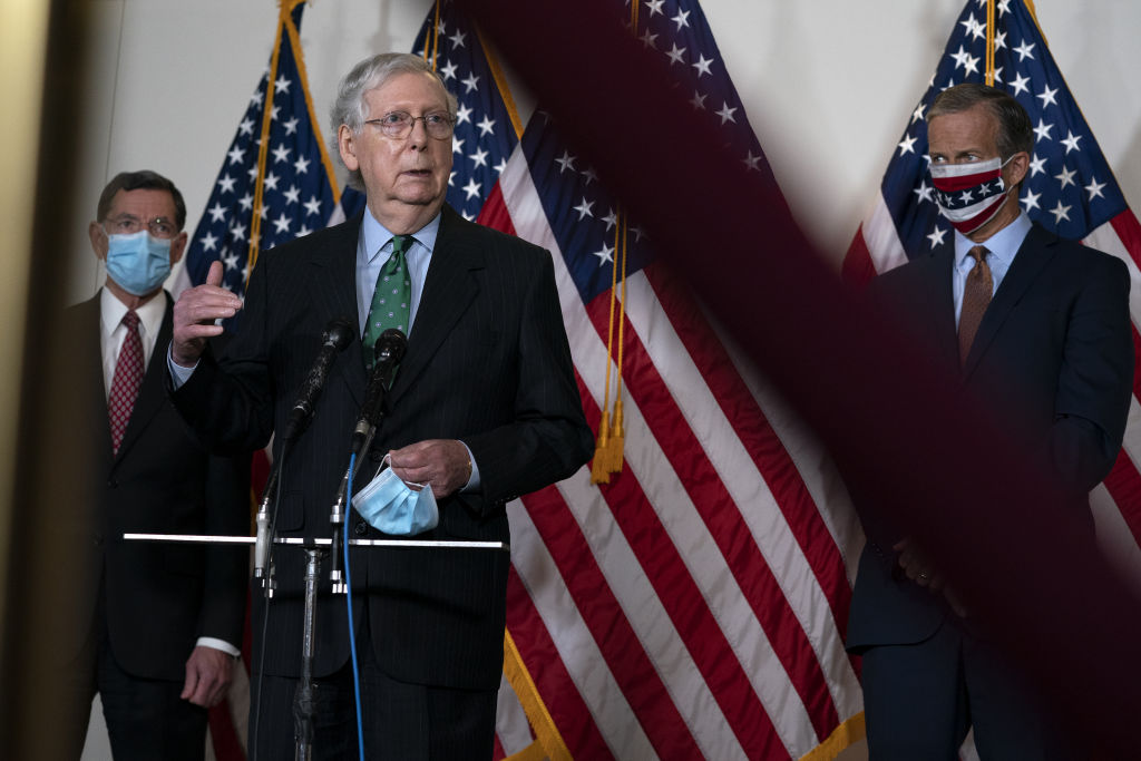 Senate Majority Leader Mitch McConnell, a Republican from Kentucky, speaks during a news conference following the Senate Republican luncheons at the Hart Senate Office building in Washington, D.C. on Wednesday, Sept. 30, 2020.