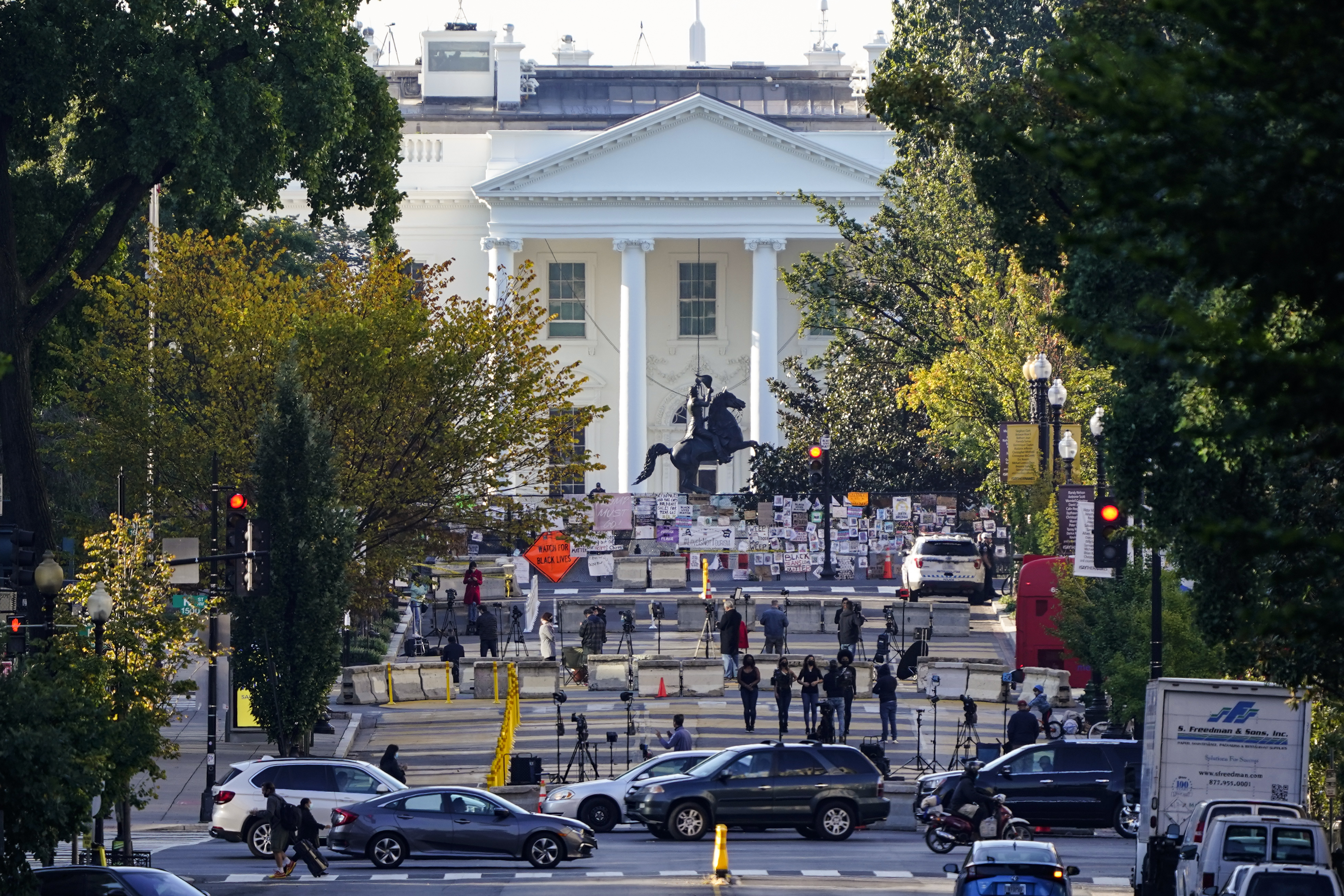 The White House is seen in Washington, Oct. 6, 2020, the morning after President Donald Trump returned from the hospital where he was treated for COVID-19.