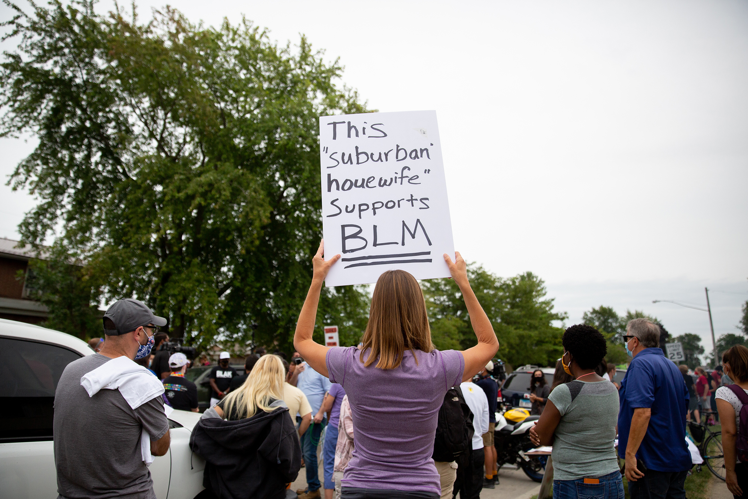 A Black Lives Matter supporter near the site where Jacob Blake was shot by police in Kenosha, Wis.