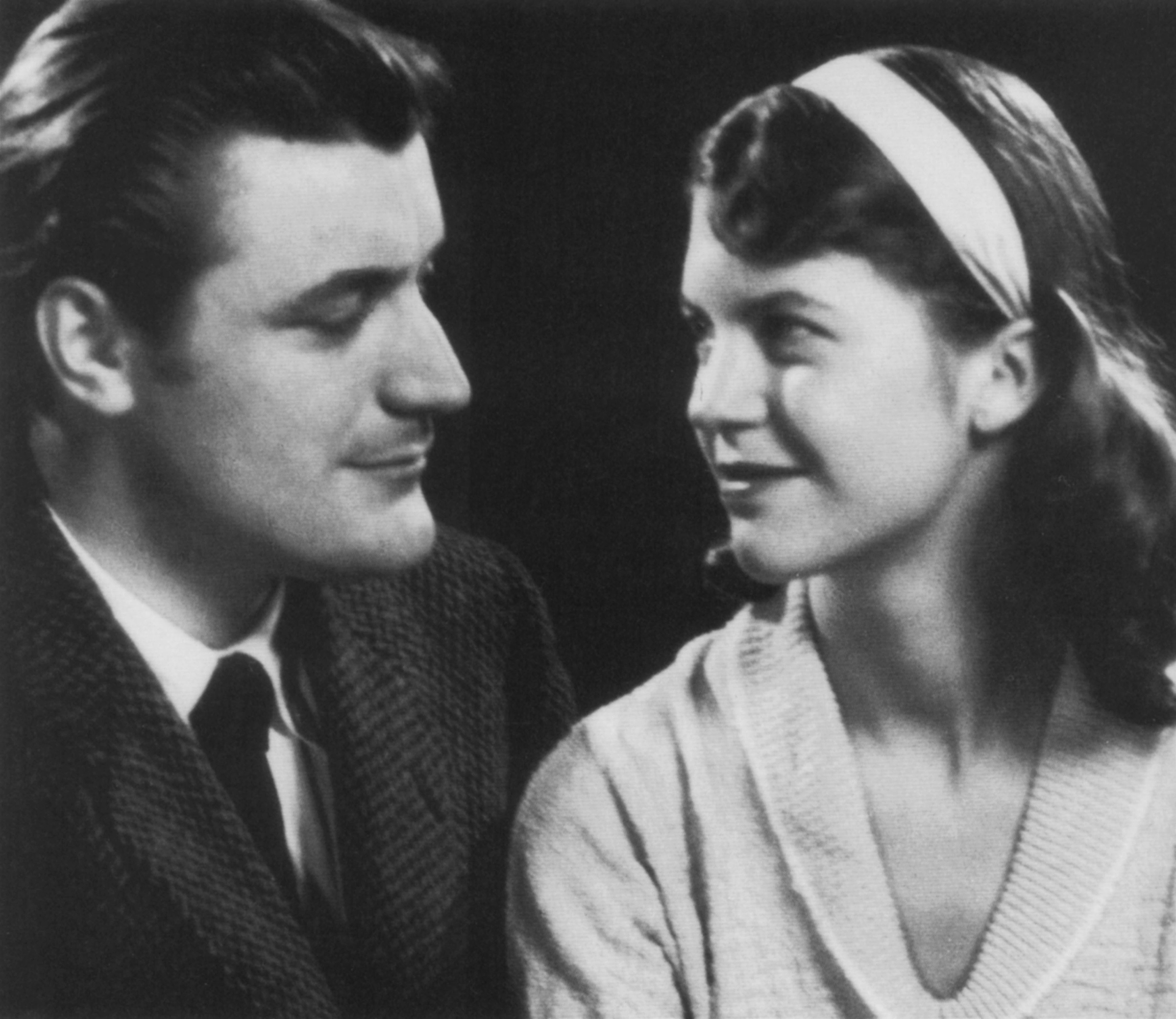 Sylvia Plath with her husband Ted Hughes in England, 1956