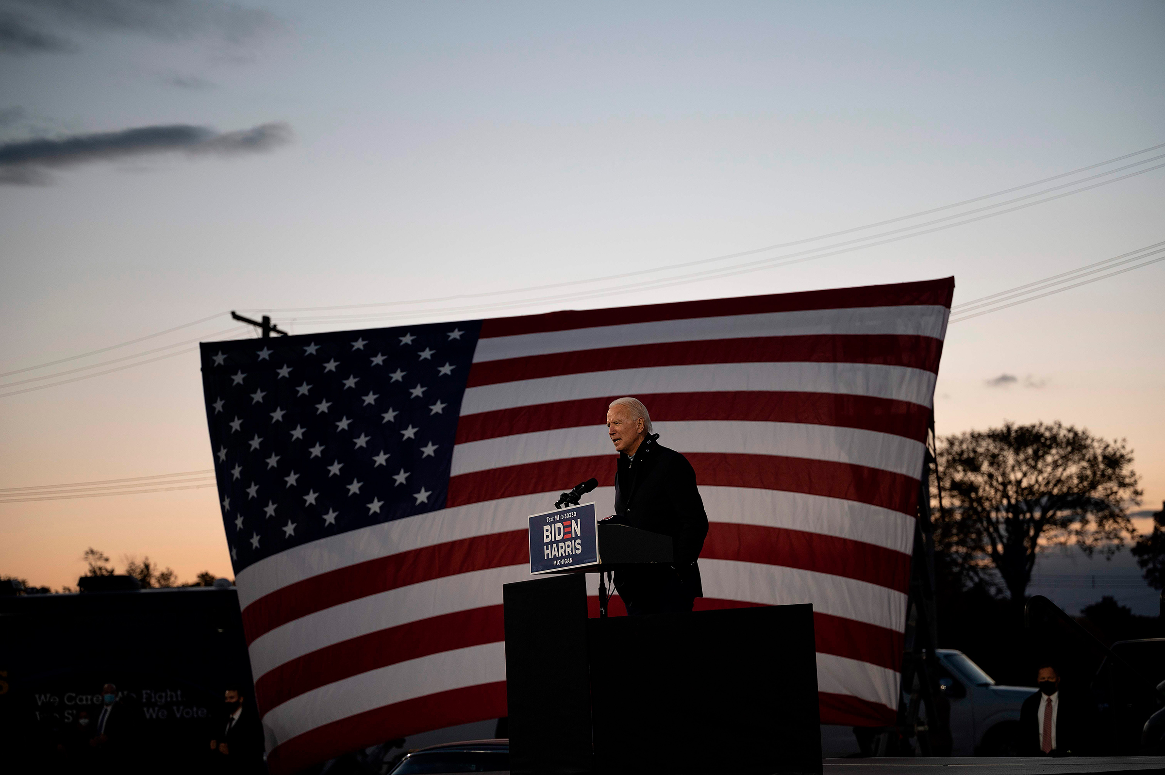 Biden campaigns at a drive-in rally in Detroit on Oct. 16