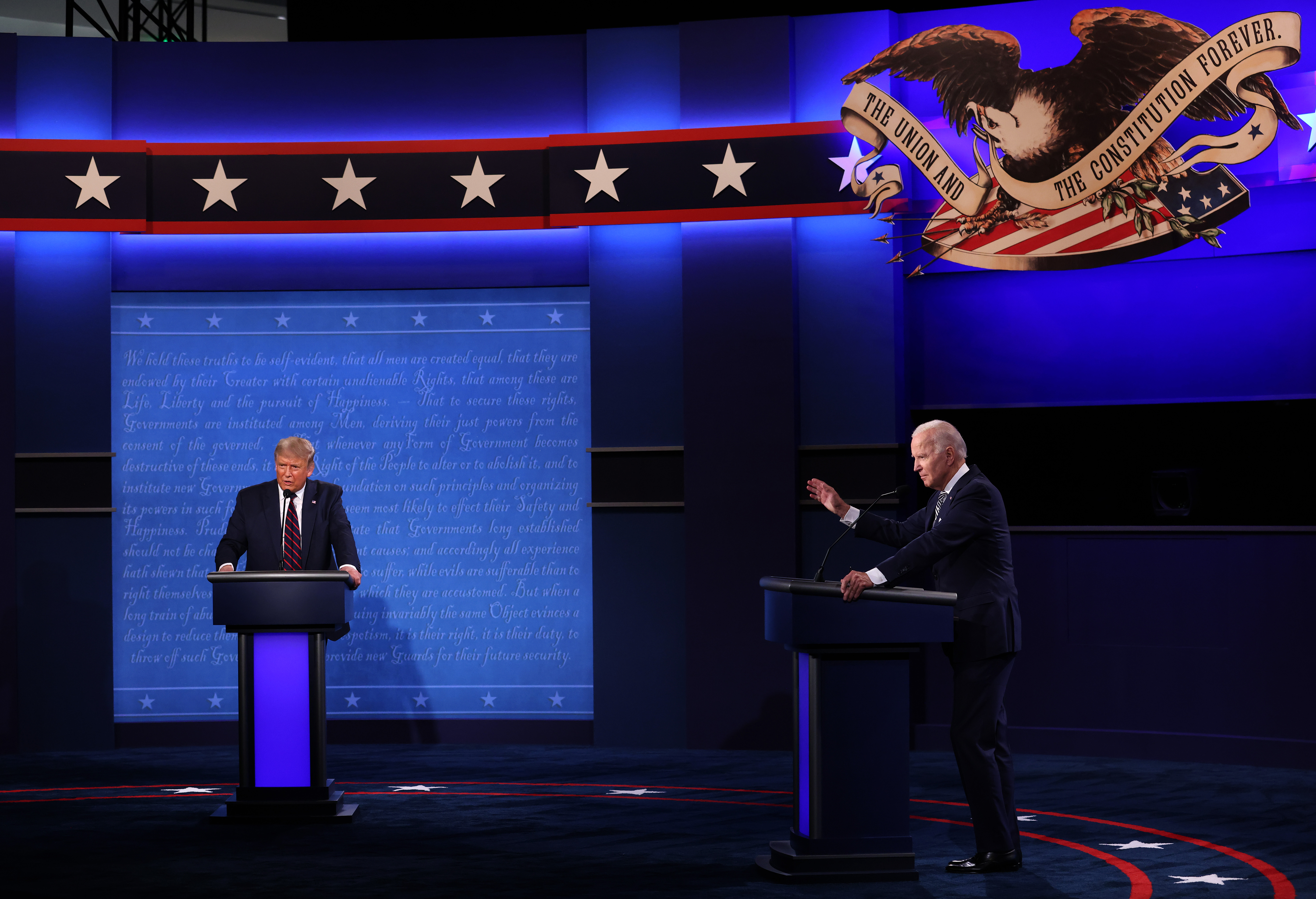 U.S. President Donald Trump and Democratic presidential nominee Joe Biden participate in the first presidential debate on September 29, 2020 in Cleveland, Ohio.