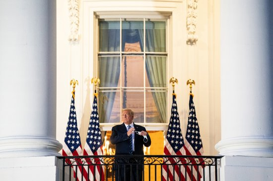 President Trump stages a theatrical return to the White House on Oct.5 after three days of hospitalization for COVID-19