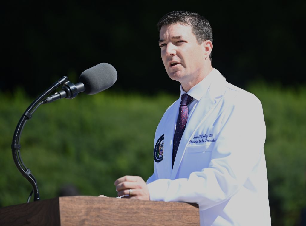 White House physician Sean Conley gives an update on the condition of US President Donald Trump, on Oct. 3, 2020, at Walter Reed Medical Center in Bethesda, Maryland.