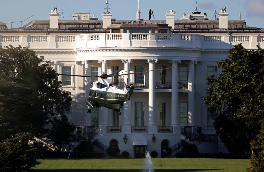 Marine One, the presidential helicopter, arrives at the White House to carry U.S. President Donald Trump to Walter Reed National Military Medical Center October 2, 2020 in Washington, D.C.