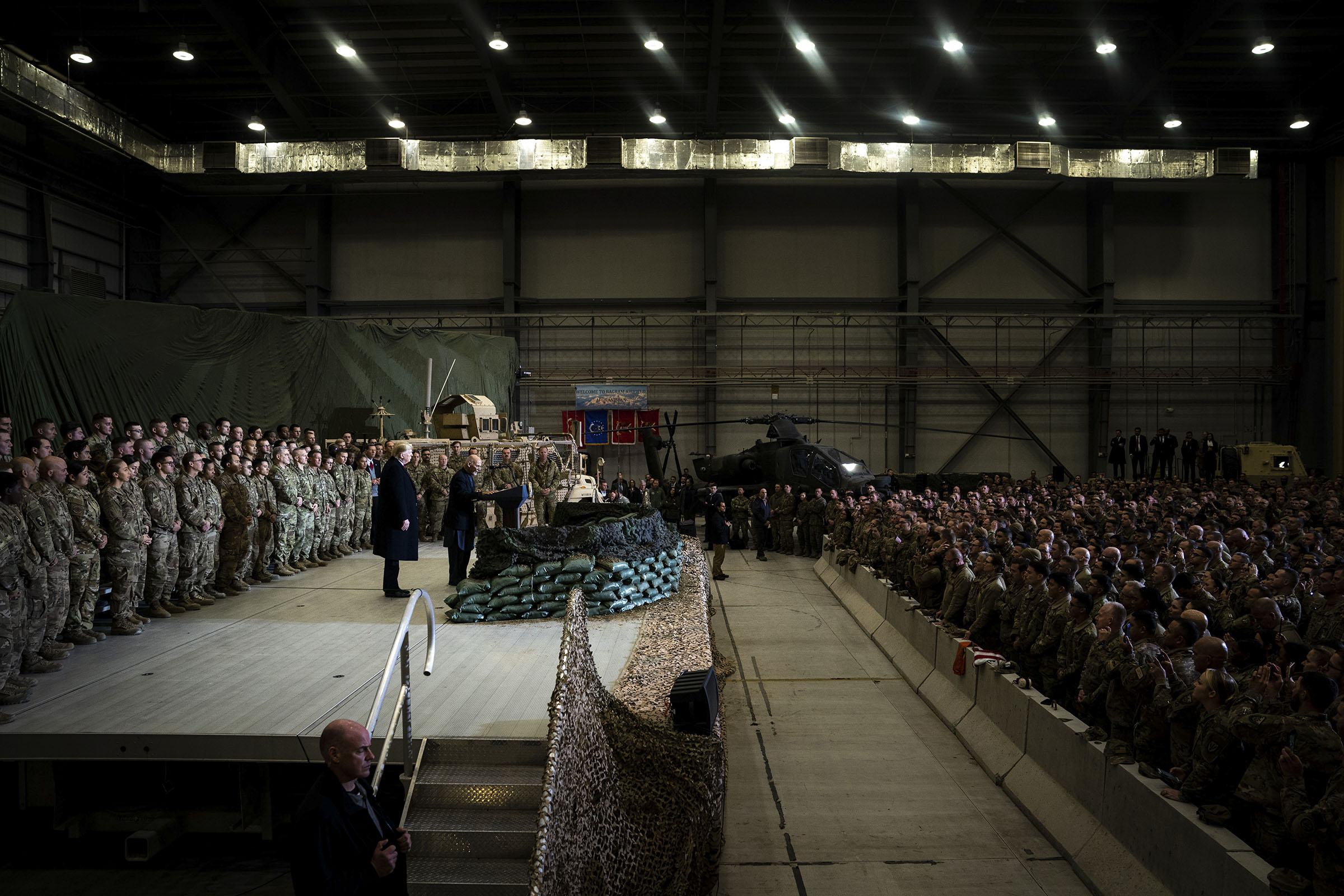 President Donald Trump and President Ashraf Ghani of Afghanistan address American troops at Bagram Air Base outside of Kabul, Afghanistan, on Nov. 28, 2019.